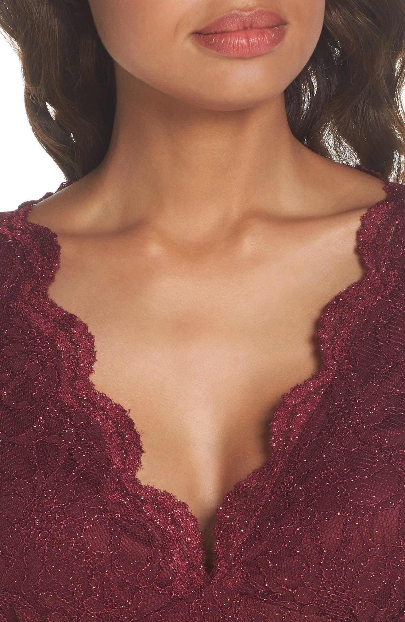 Glitter Lace Gown,                             Alternate thumbnail 4, color,                             MERLOT