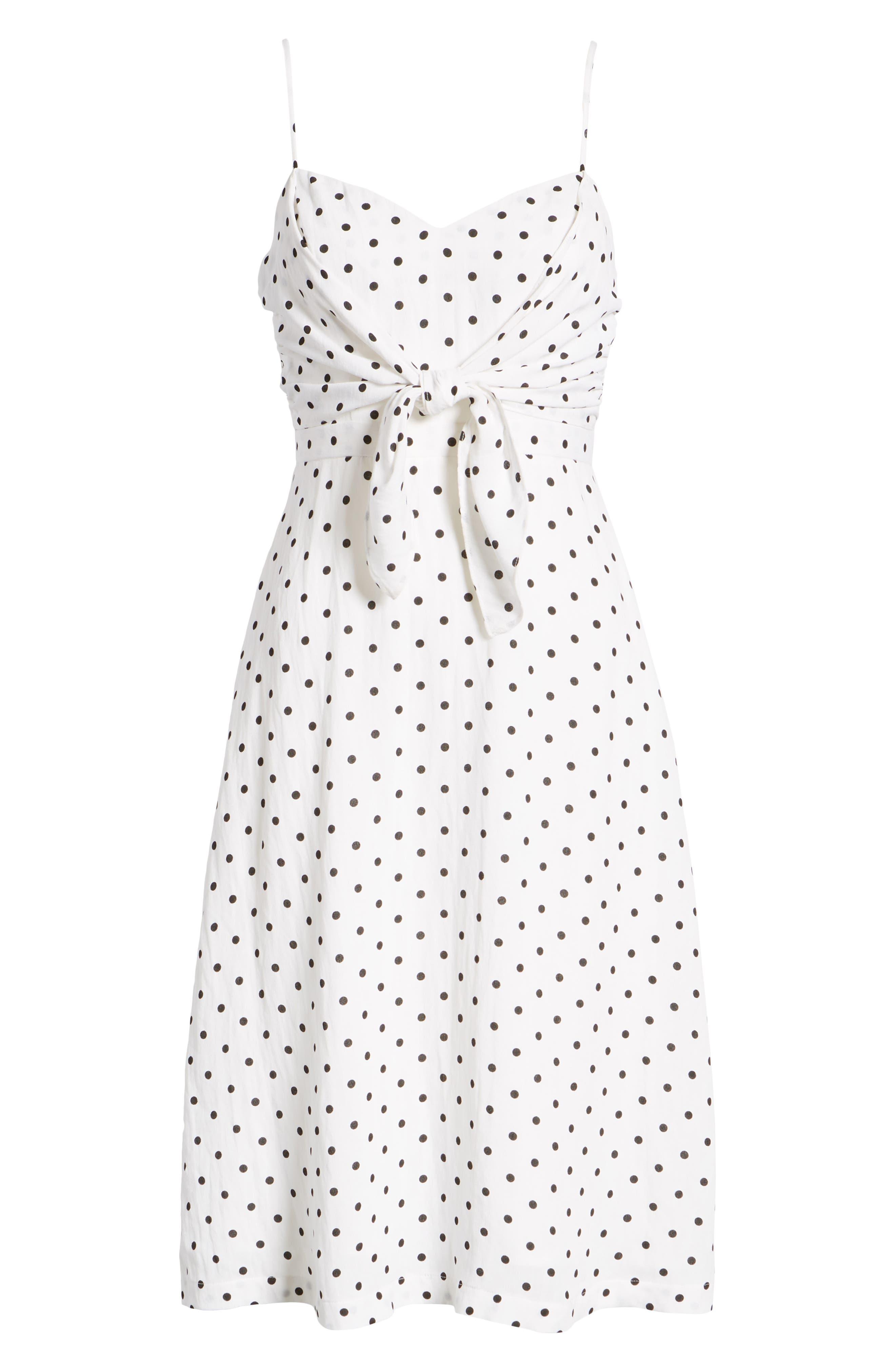 Stripe Tie Front Midi Dress,                             Alternate thumbnail 6, color,                             105