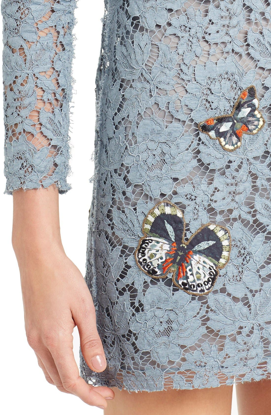 Butterfly Embroidered Lace Dress,                             Alternate thumbnail 5, color,                             SLATE BLUE