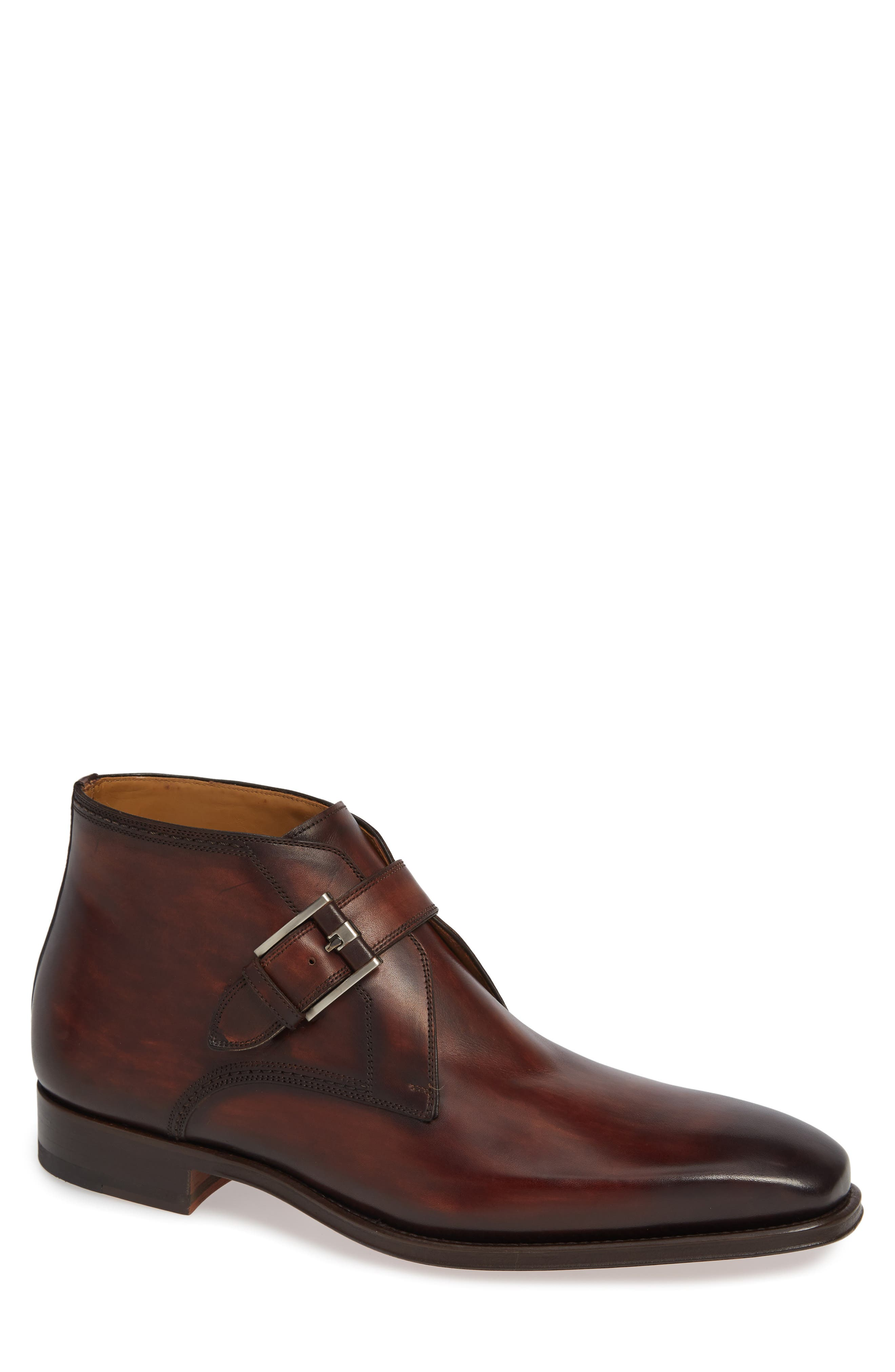 MAGNANNI,                             Luka Monk Strap Boot,                             Main thumbnail 1, color,                             MID BROWN LEATHER