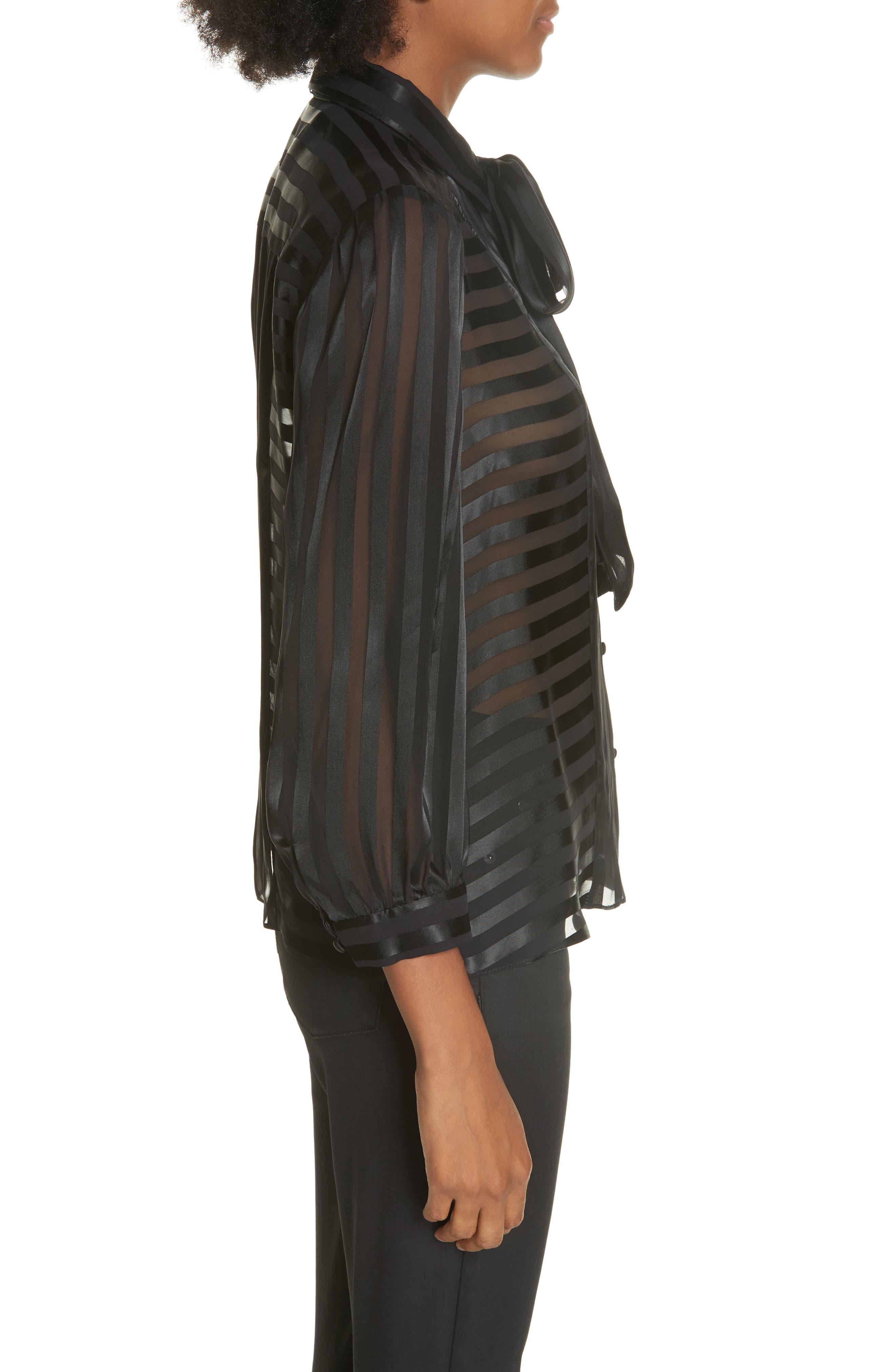 Tie Neck Shadow Stripe Blouse,                             Alternate thumbnail 3, color,                             SHADOW STRIPE BLACK