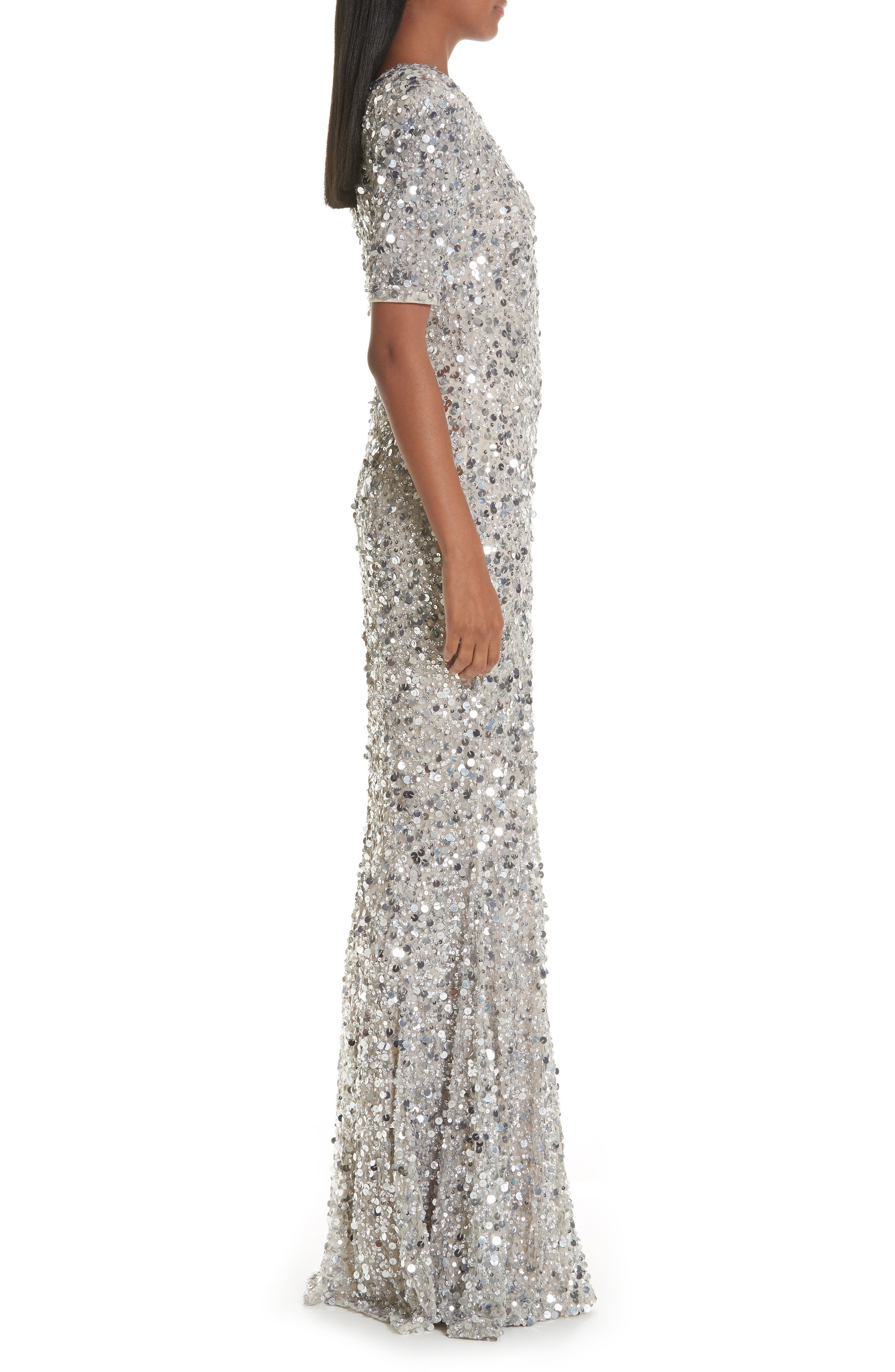 Zowie Sequin Gown,                             Alternate thumbnail 3, color,                             SILVER