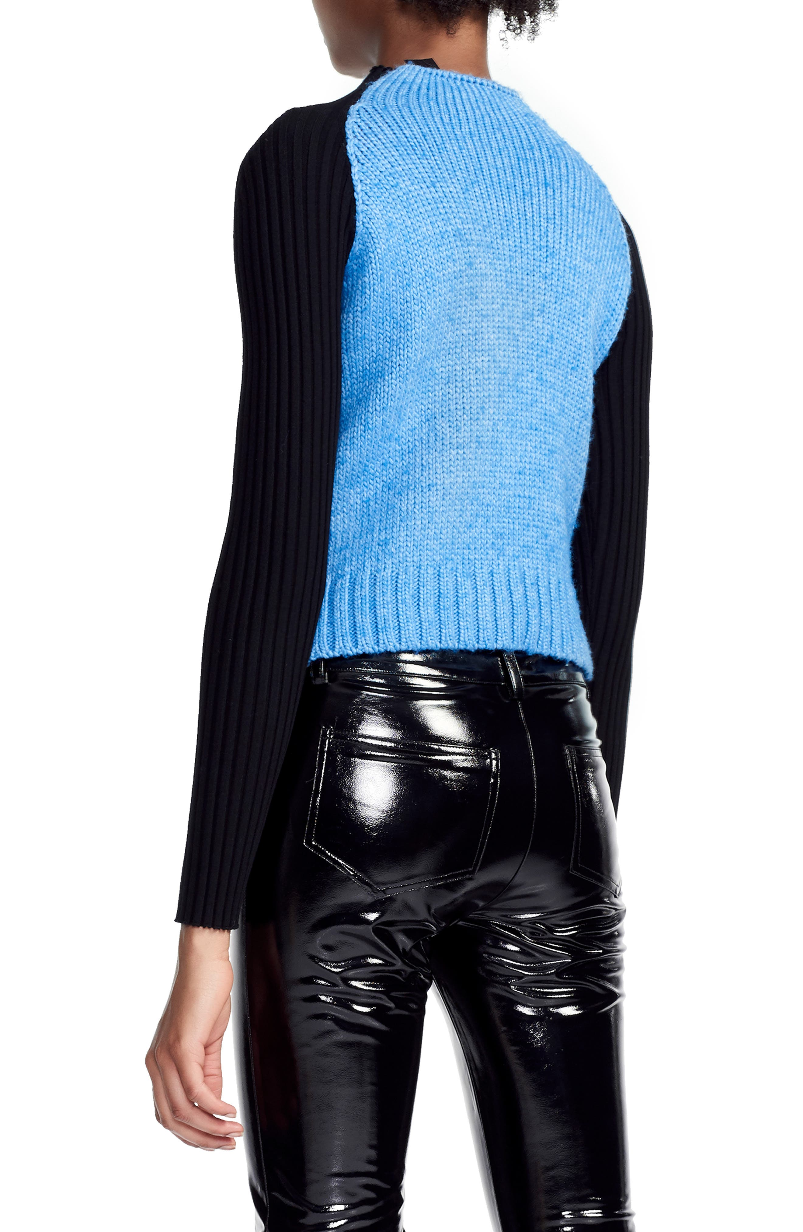 MAJE,                             Mixed Knit Sweater,                             Alternate thumbnail 2, color,                             400