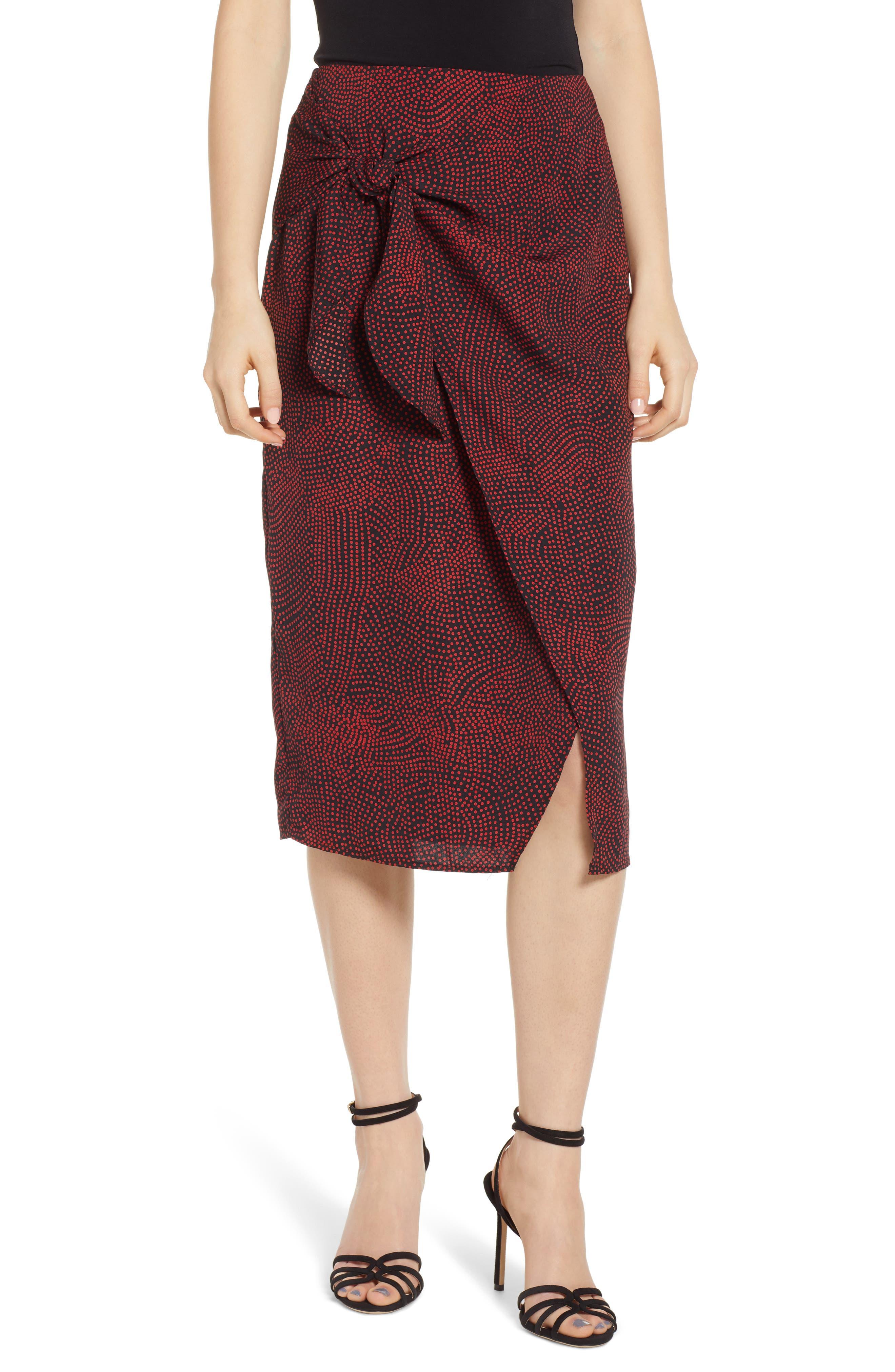 Leith Tie Front Midi Skirt, Black