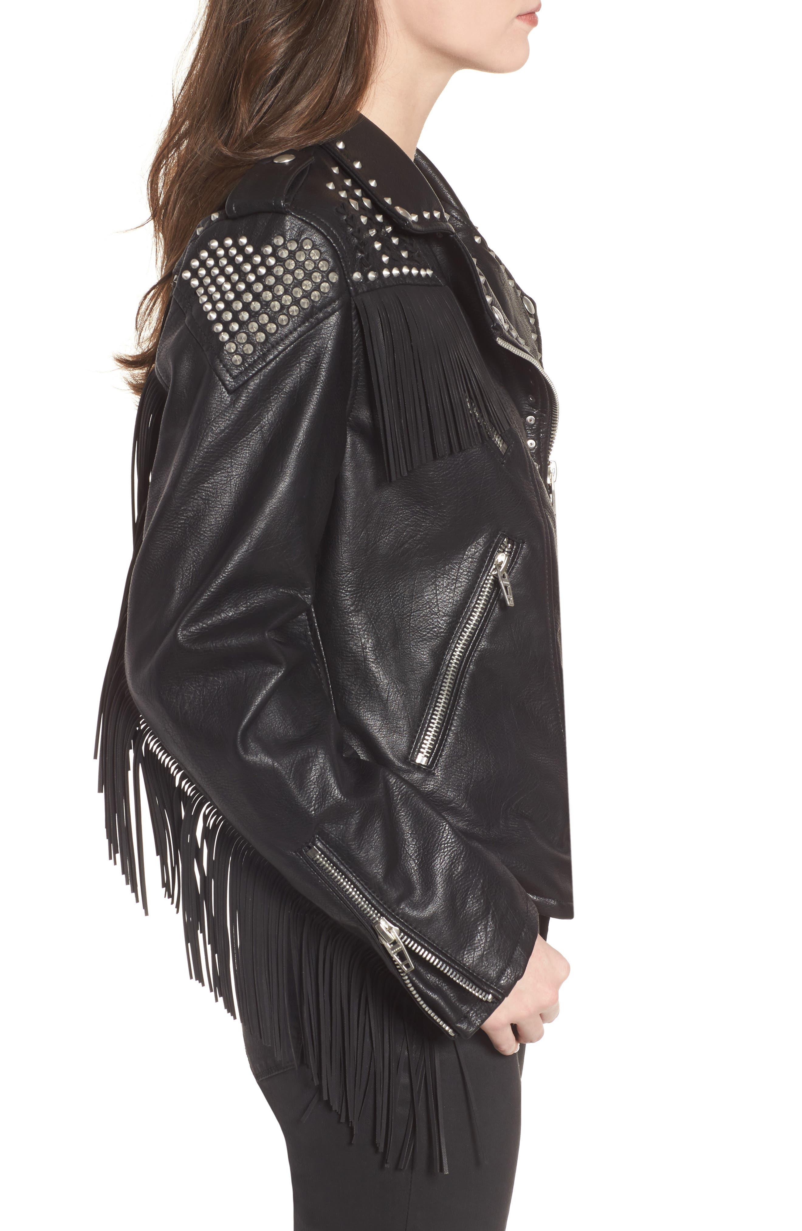 Studded Fringe Faux Leather Moto Jacket,                             Alternate thumbnail 3, color,                             001