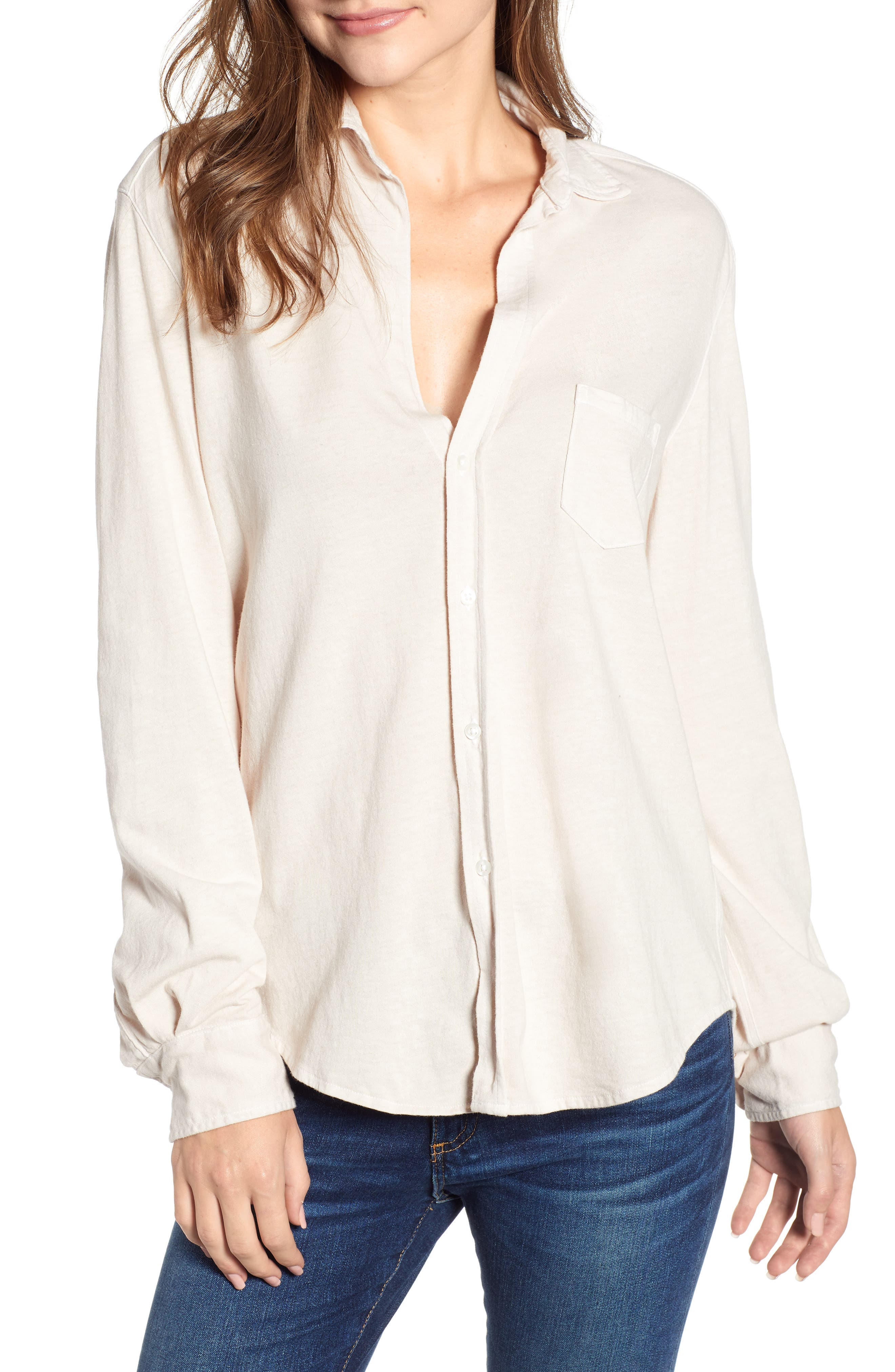 Eileen Jersey Button Front Shirt,                             Main thumbnail 1, color,                             NO FILTER