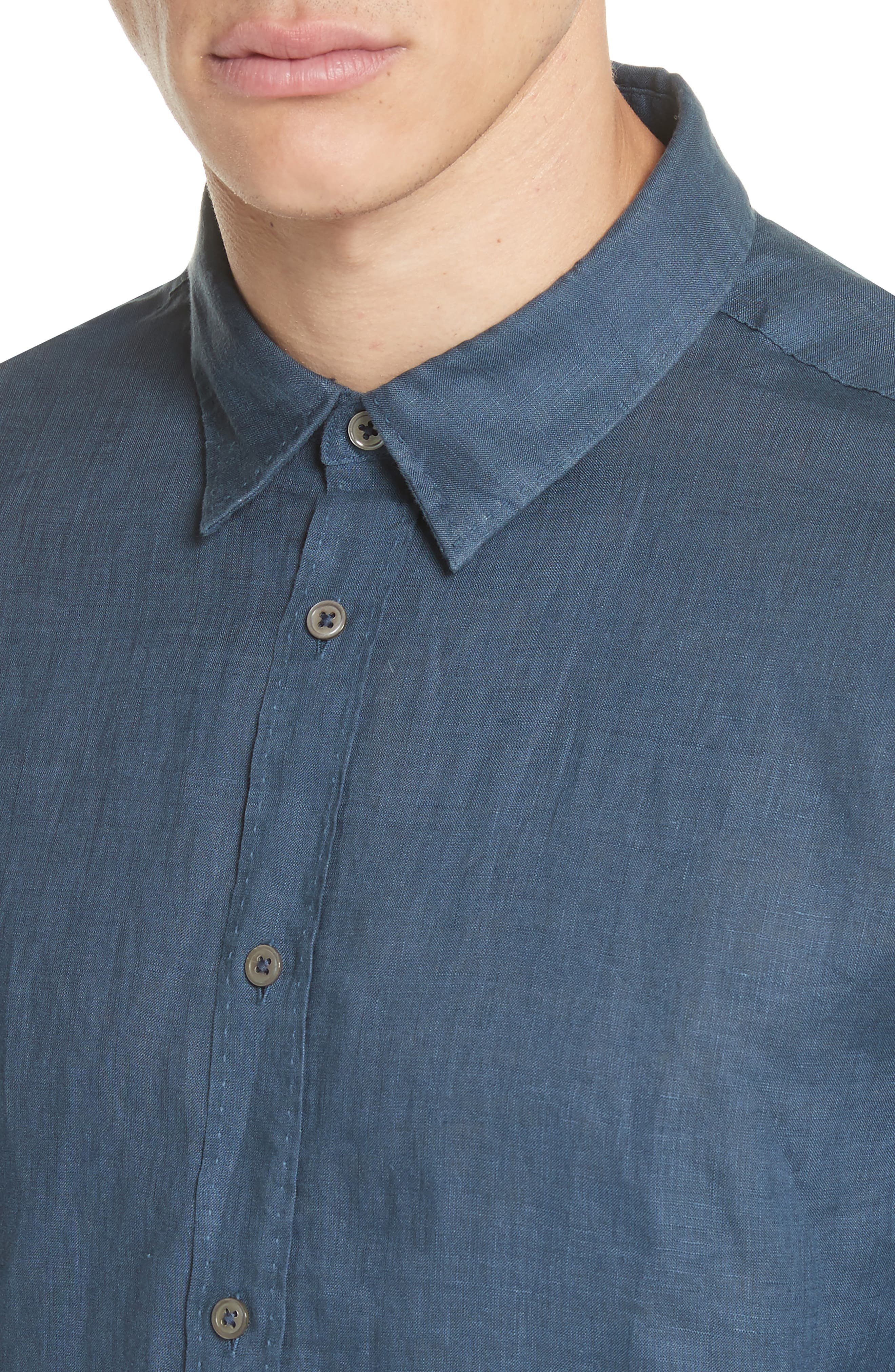 Garment Dyed Linen Shirt,                             Alternate thumbnail 4, color,                             LAKE BLUE
