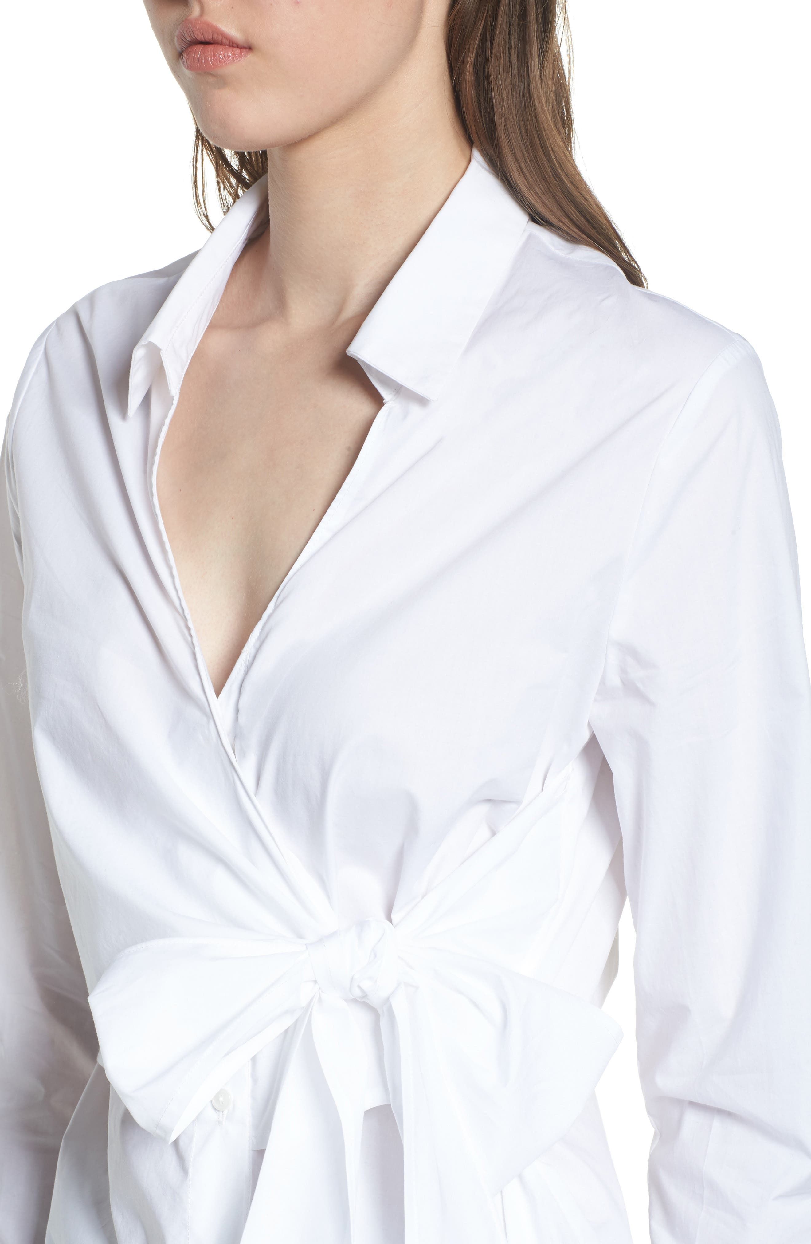 Tie Front Poplin Blouse,                             Alternate thumbnail 4, color,                             100