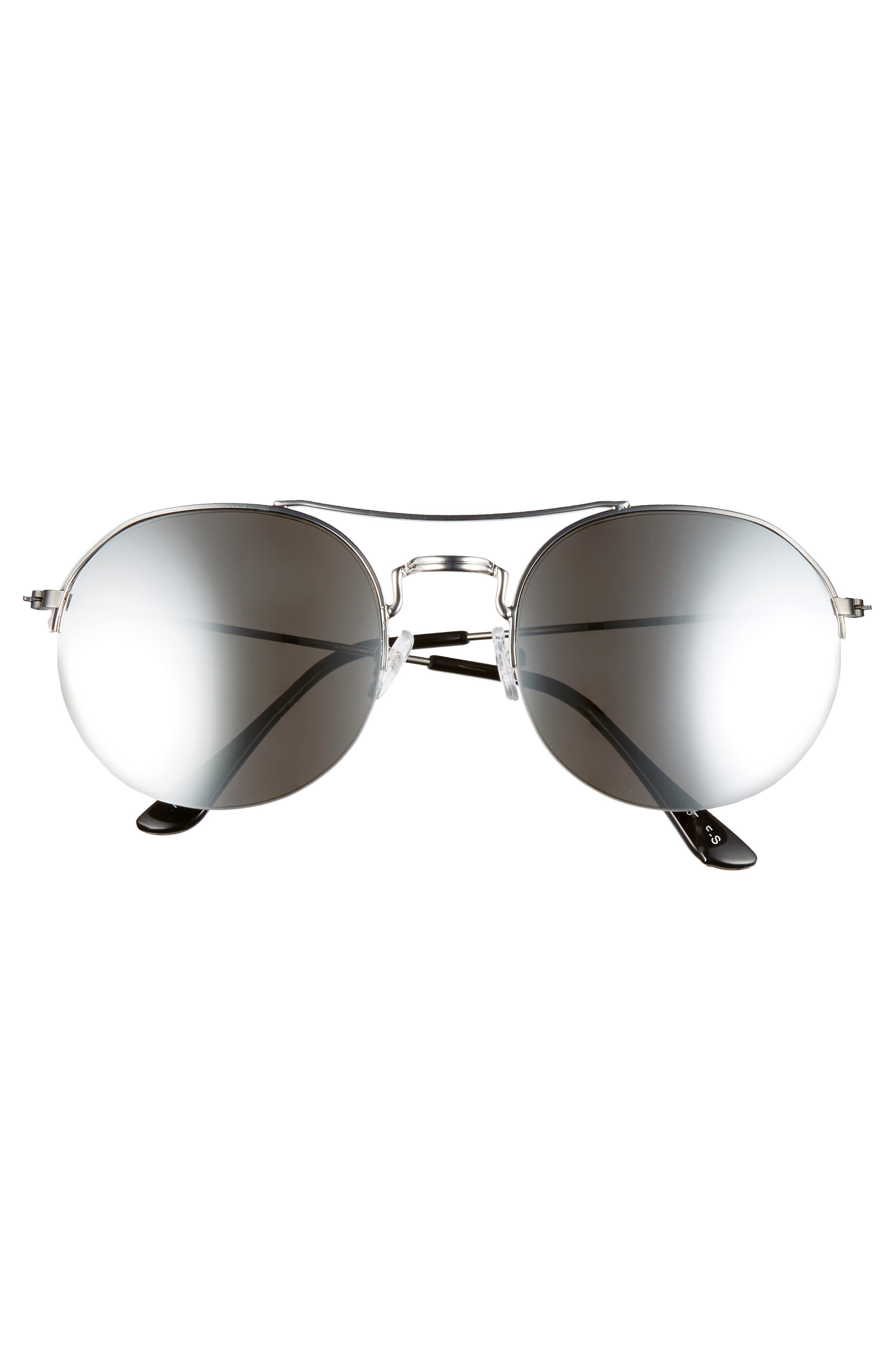 55mm Round Metal Aviator Sunglasses,                             Alternate thumbnail 3, color,                             DARK GREY