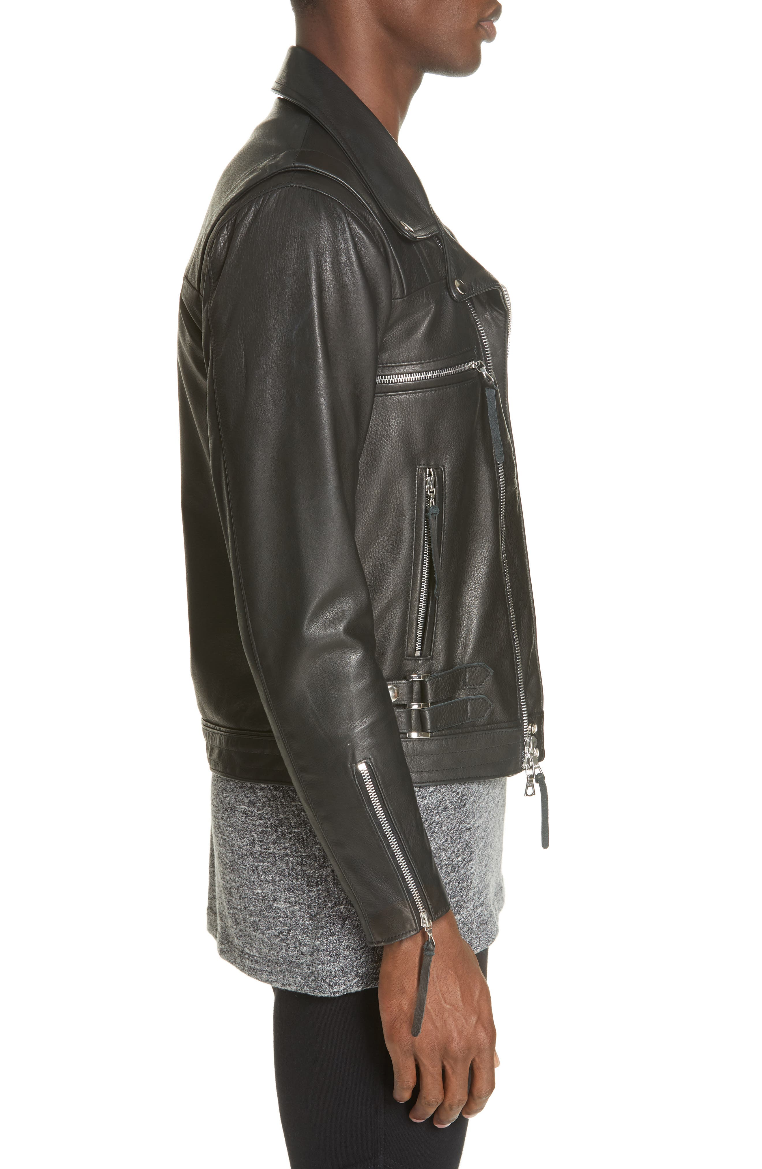 Riders Leather Jacket,                             Alternate thumbnail 3, color,                             BLACK