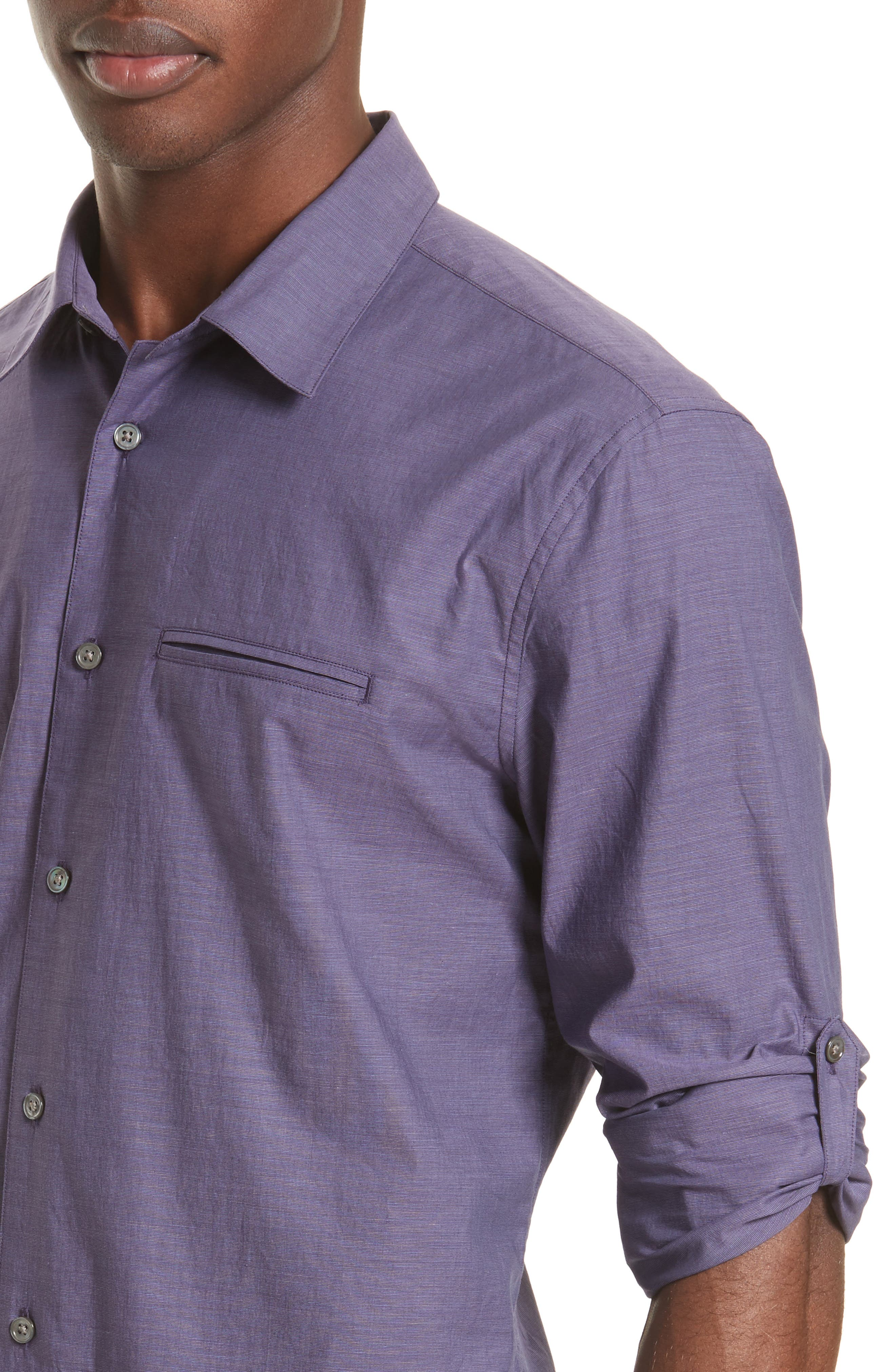 Roll Sleeve Cotton Sport Shirt,                             Alternate thumbnail 5, color,                             501