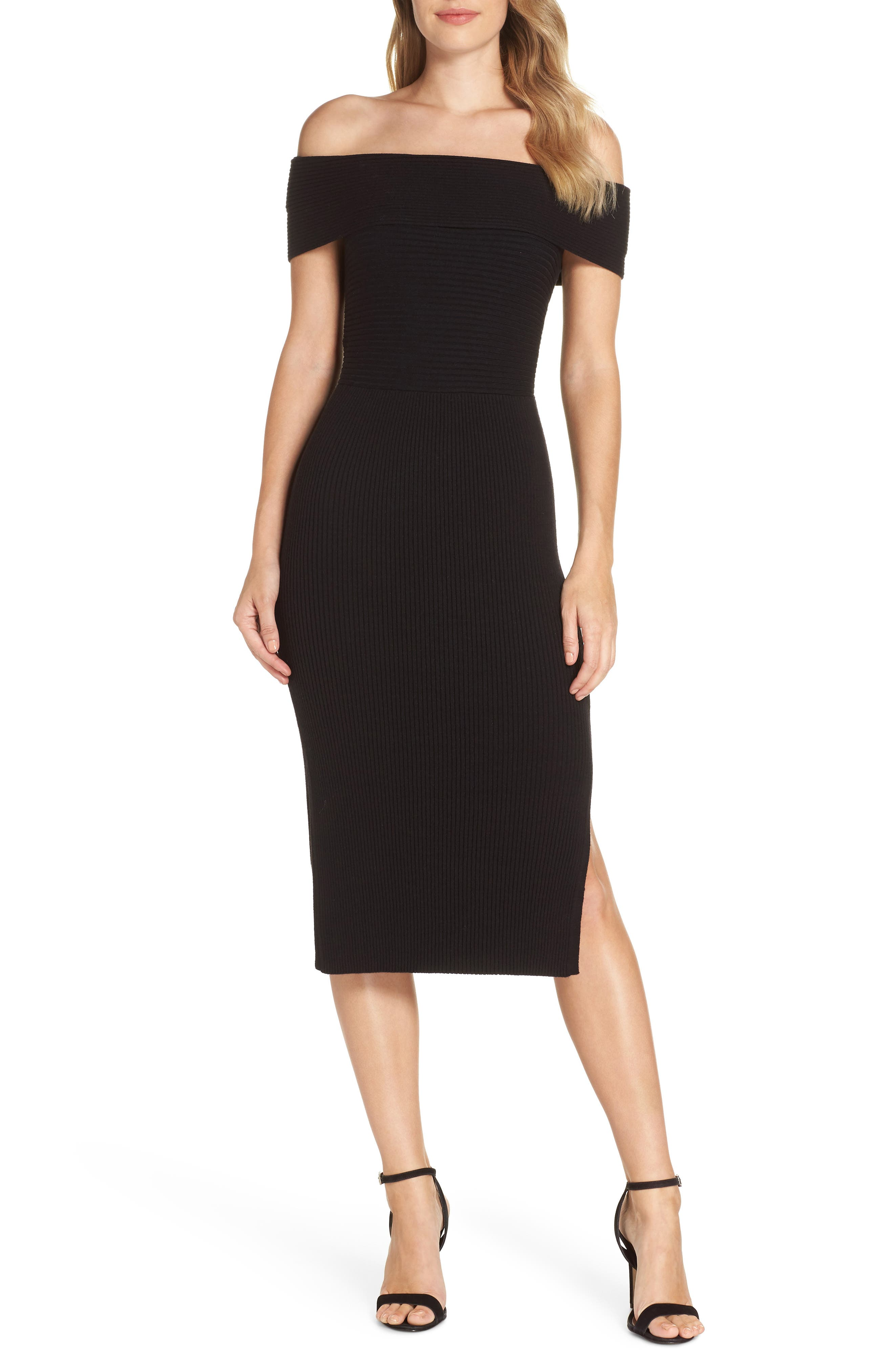 Off the Shoulder Midi Sweater Dress,                             Main thumbnail 1, color,                             BLACK