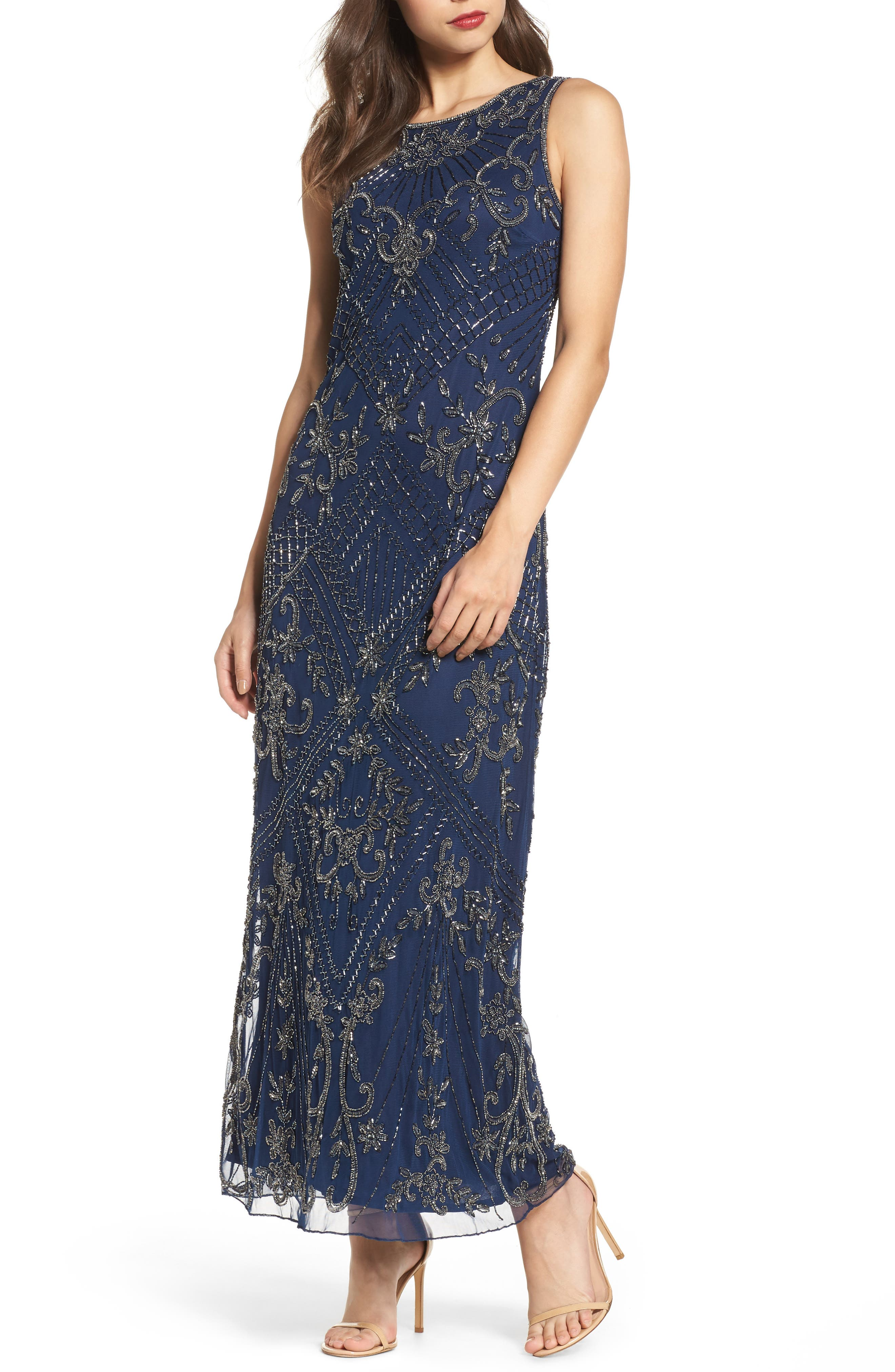 Embroidered Mesh Gown,                         Main,                         color, 421