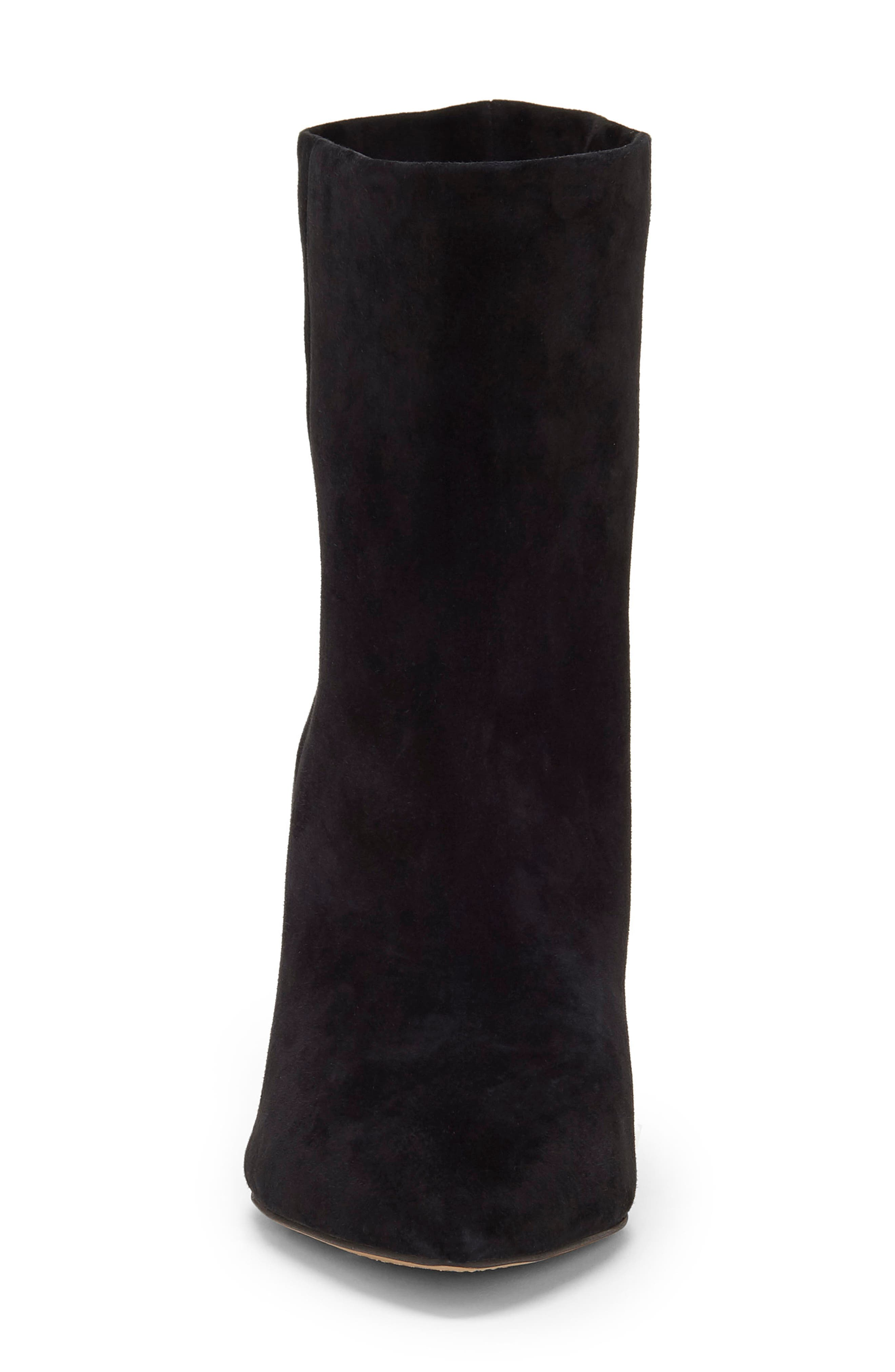 Regina Cone Heel Bootie,                             Alternate thumbnail 4, color,                             BLACK SUEDE