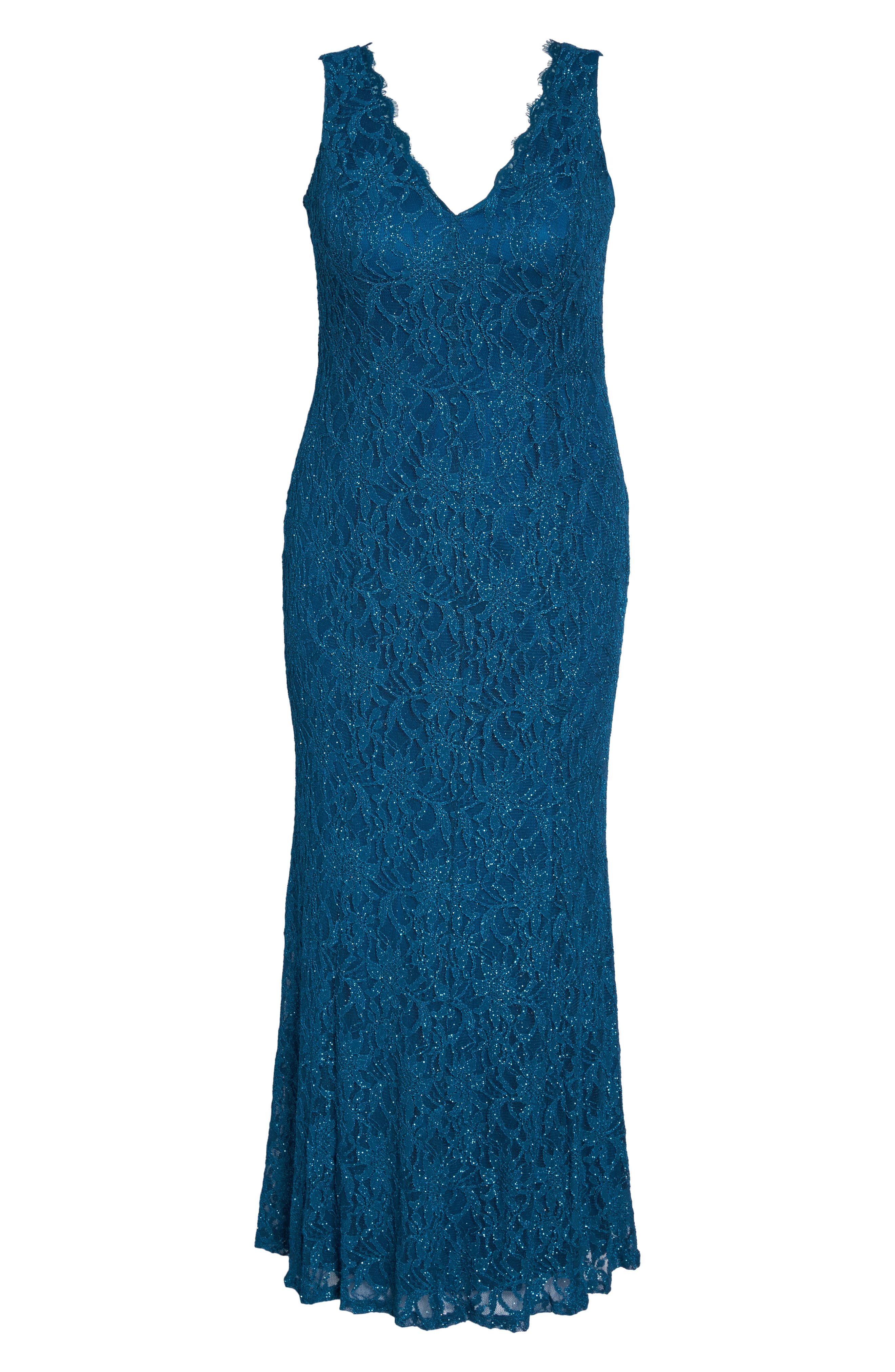 Illusion Lace A-Line Gown,                             Alternate thumbnail 6, color,                             TEAL