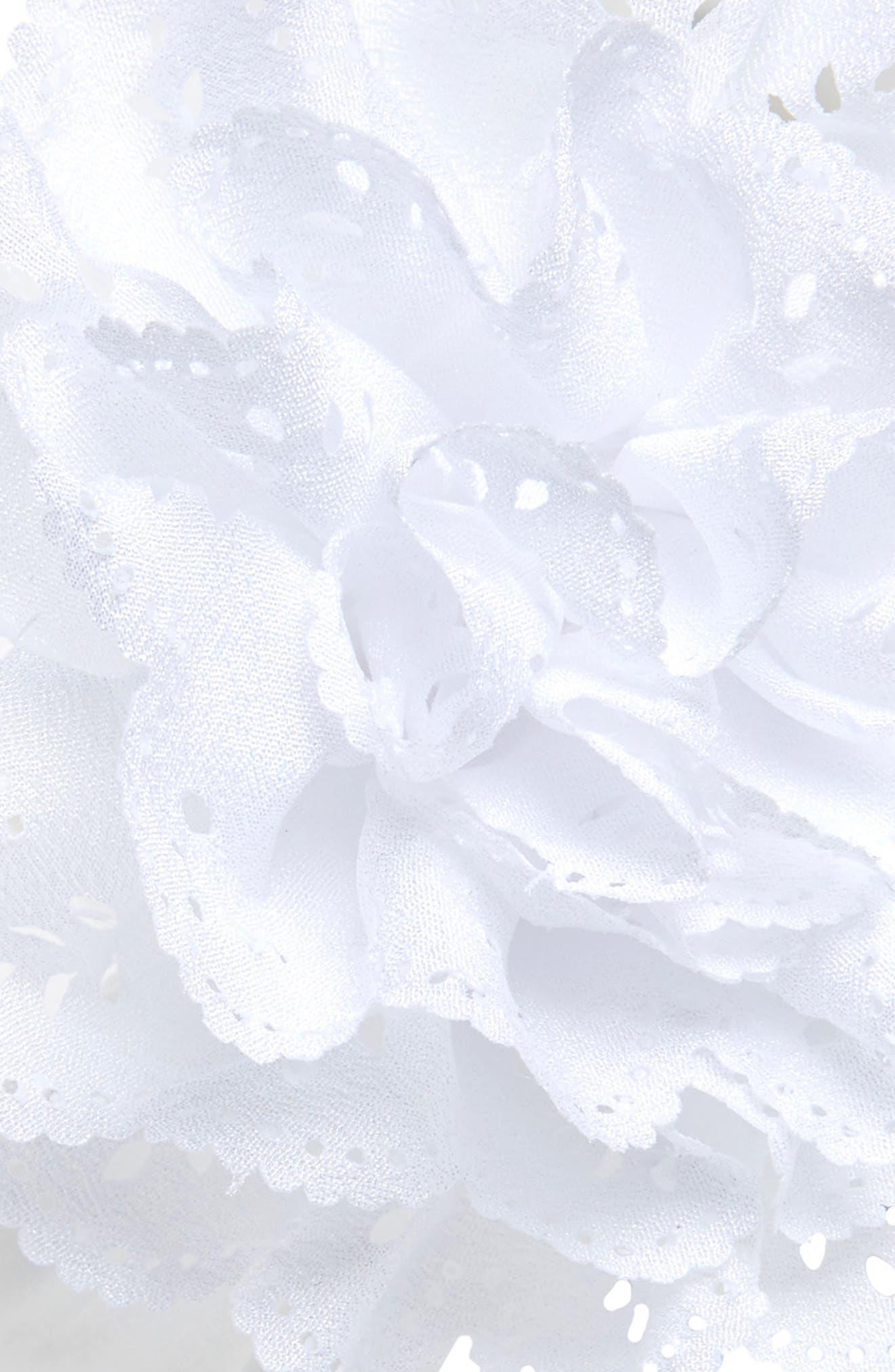 Eyelet Flower Head Wrap,                             Alternate thumbnail 2, color,                             WHITE