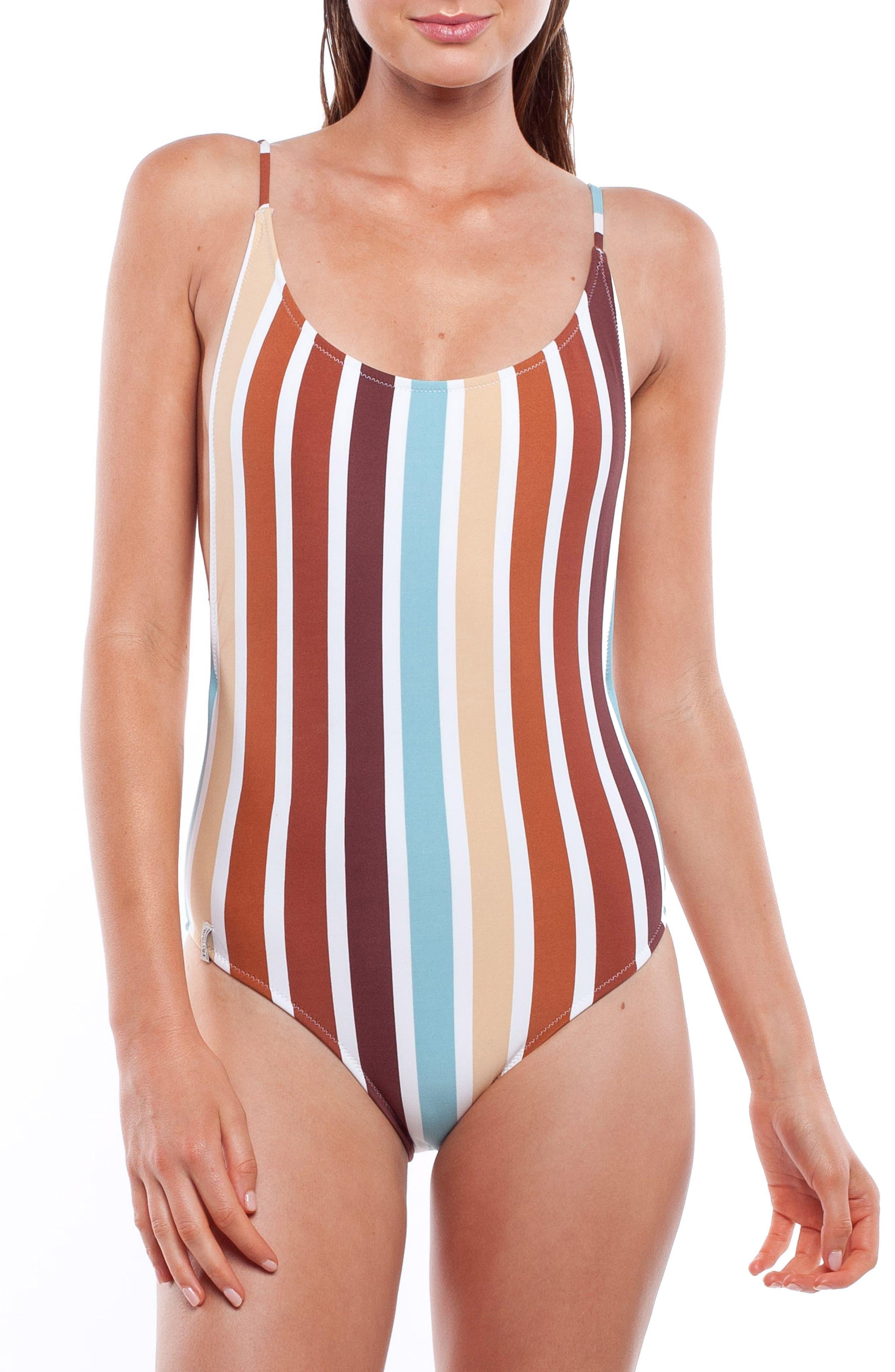 60s Swimsuits, 70s Bathing Suits | Retro Swimwear Womens Rhythm Stripe One-Piece Swimsuit $80.00 AT vintagedancer.com