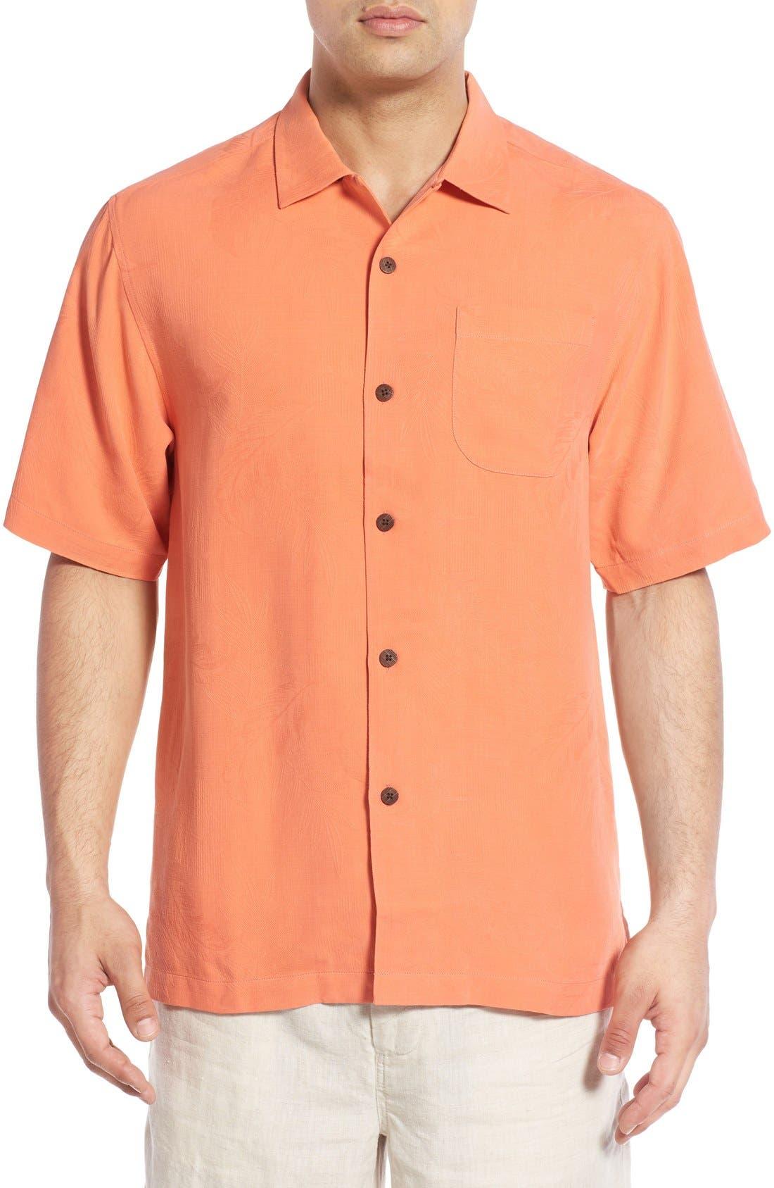 Rio Fronds Short Sleeve Silk Sport Shirt,                             Main thumbnail 18, color,