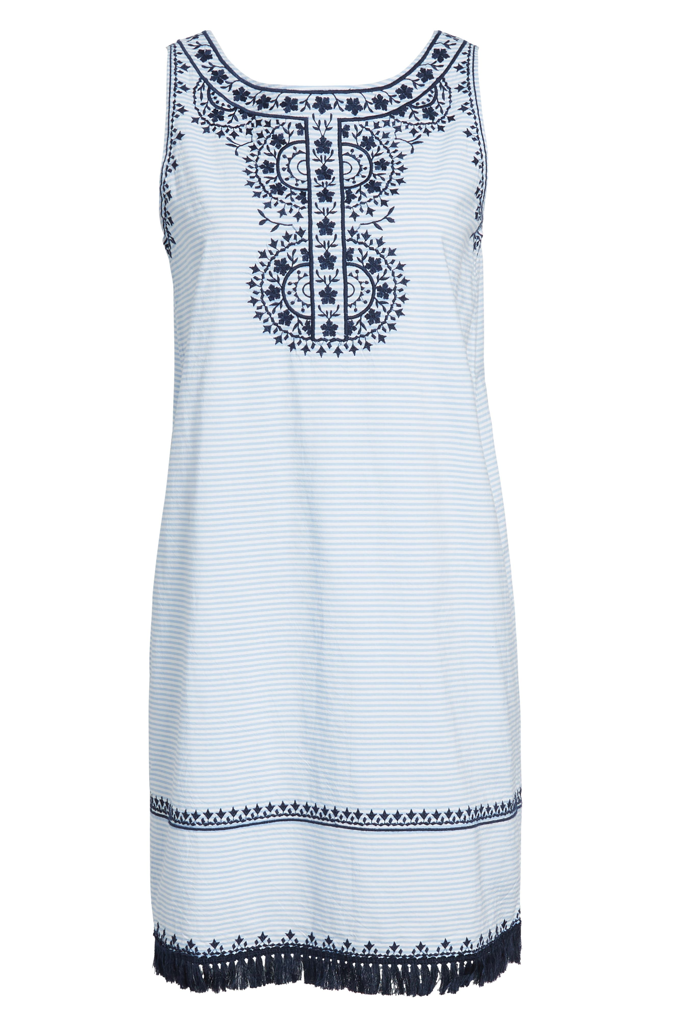 Embroidered Stripe Shift Dress,                             Alternate thumbnail 7, color,                             458