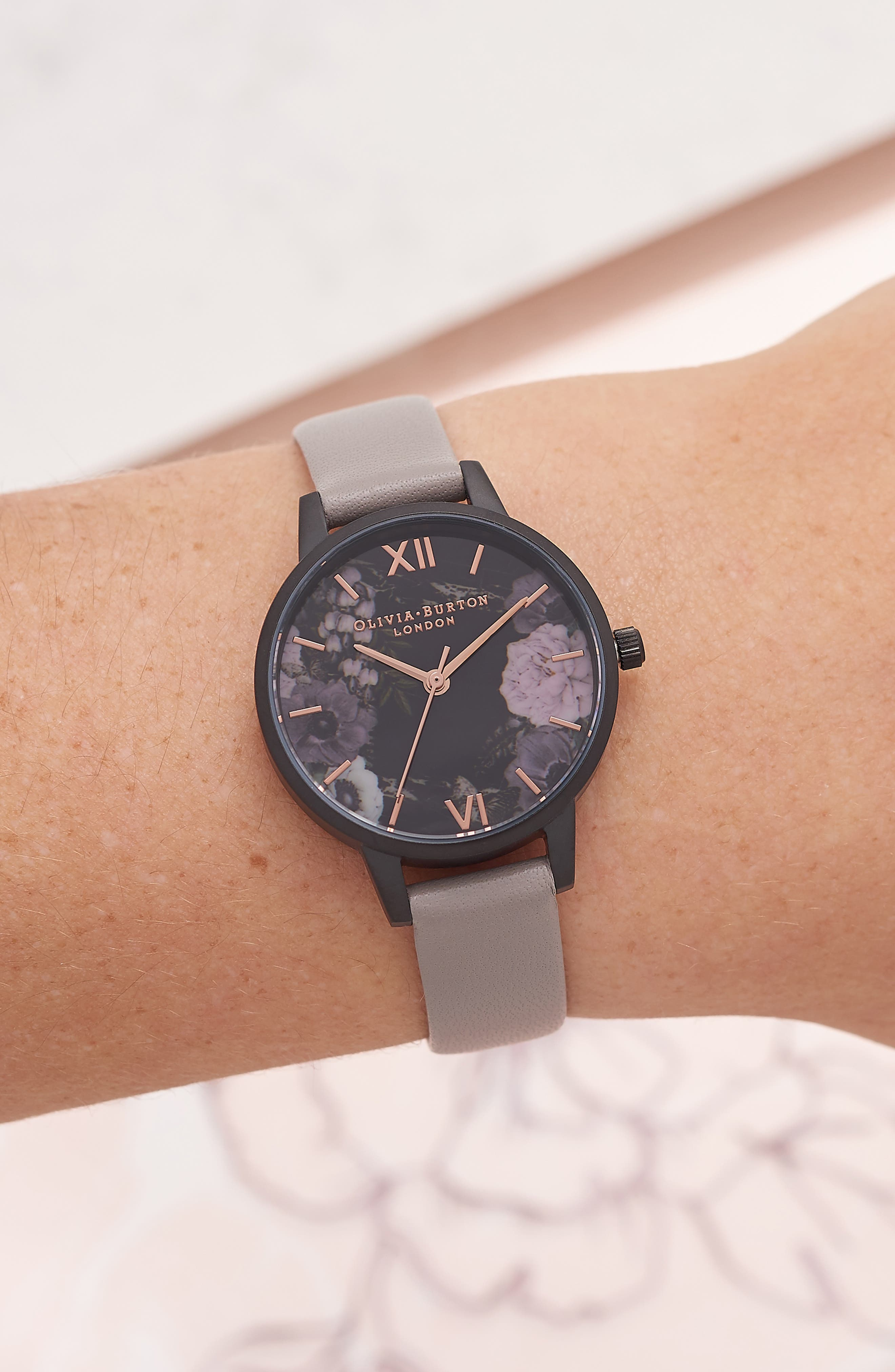 After Dark Floral Leather Strap Watch, 30mm,                             Alternate thumbnail 2, color,                             GREY/ ROSE/ BLACK