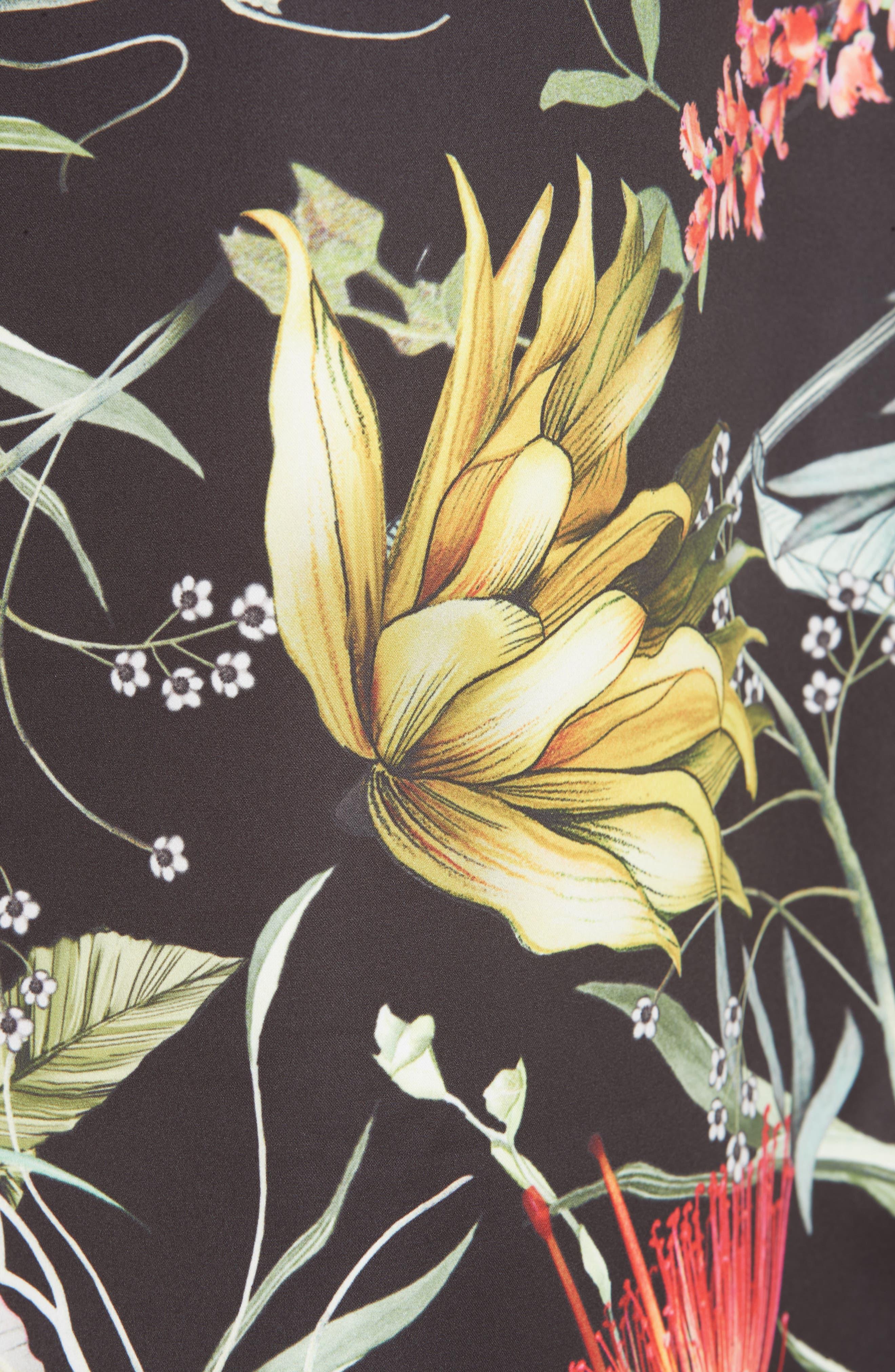 Floral Crop Wide Leg Pants,                             Alternate thumbnail 6, color,                             NERO