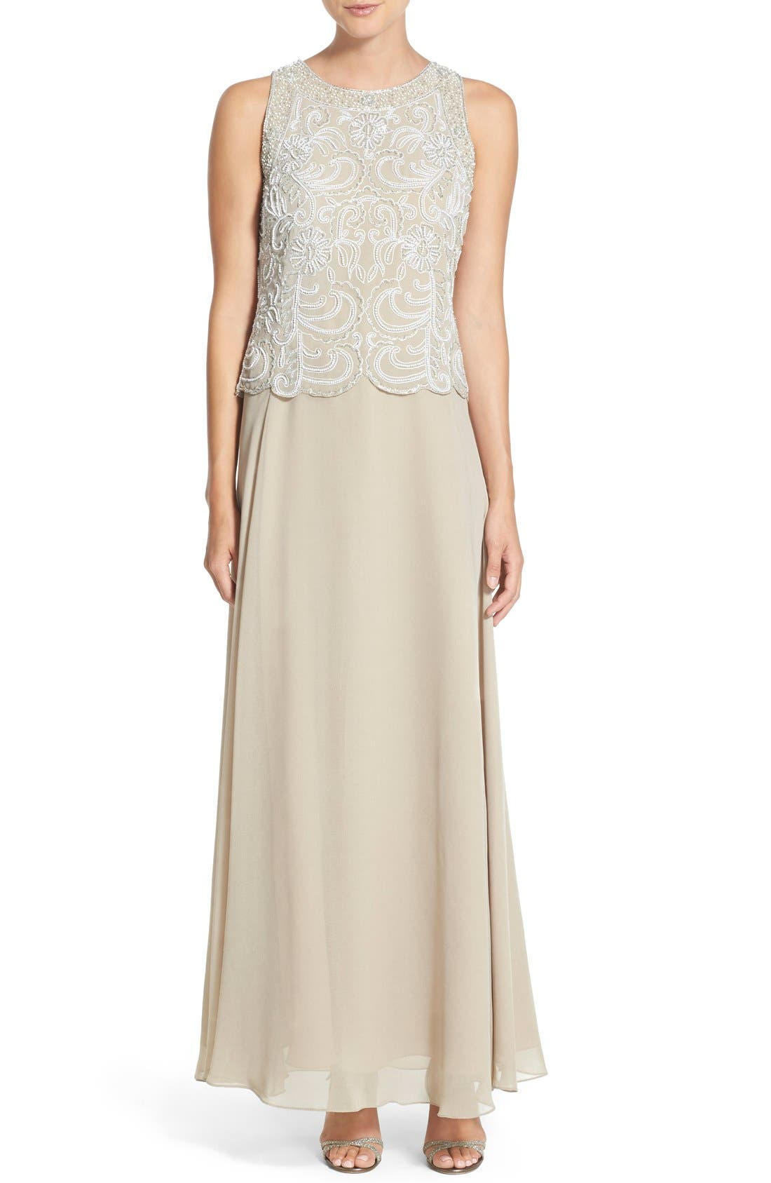J KARA,                             Embellished Chiffon A-Line Gown with Shawl,                             Alternate thumbnail 3, color,                             250