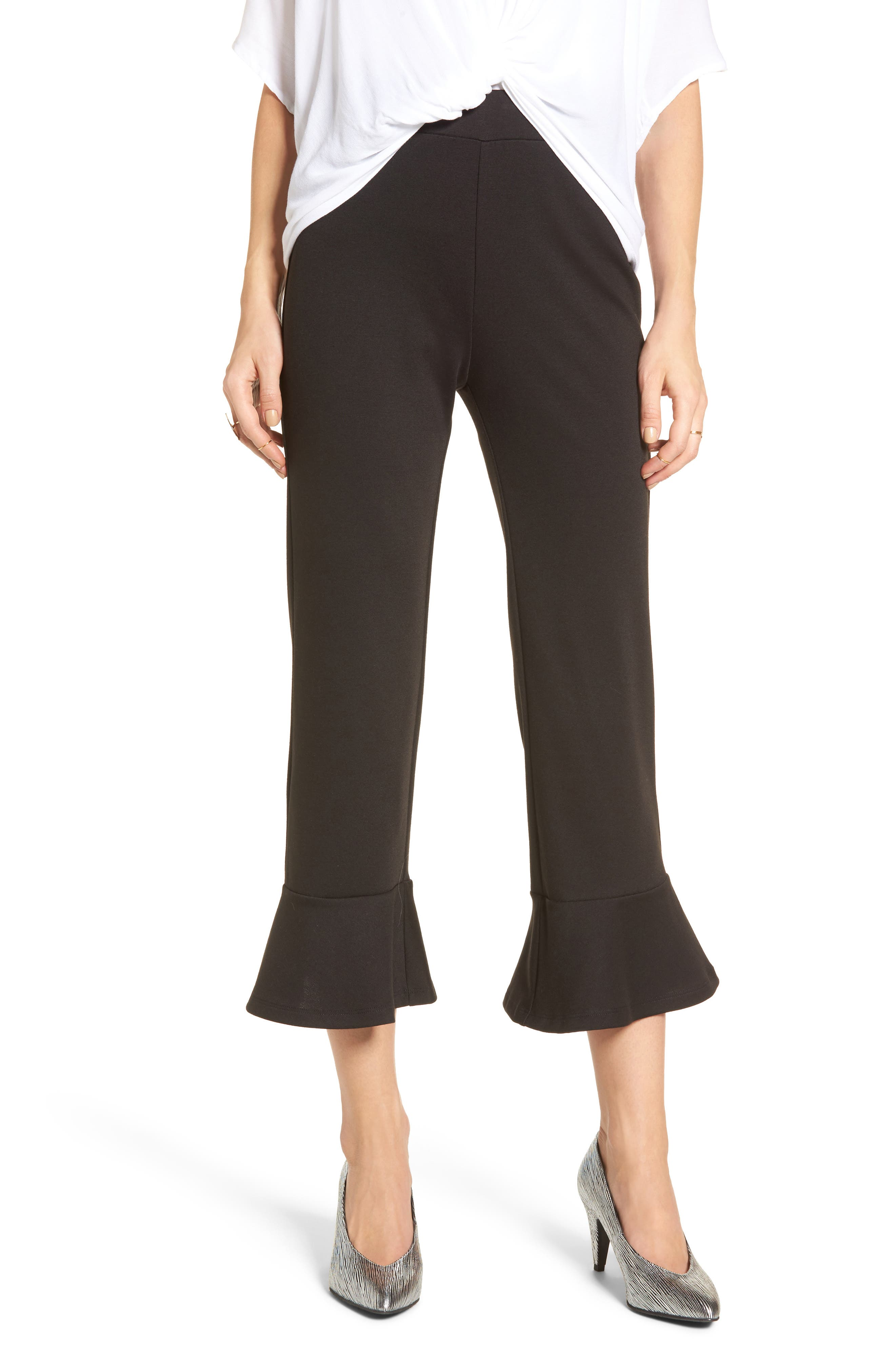 BP. Crop Ruffle Hem Pants, Main, color, 001