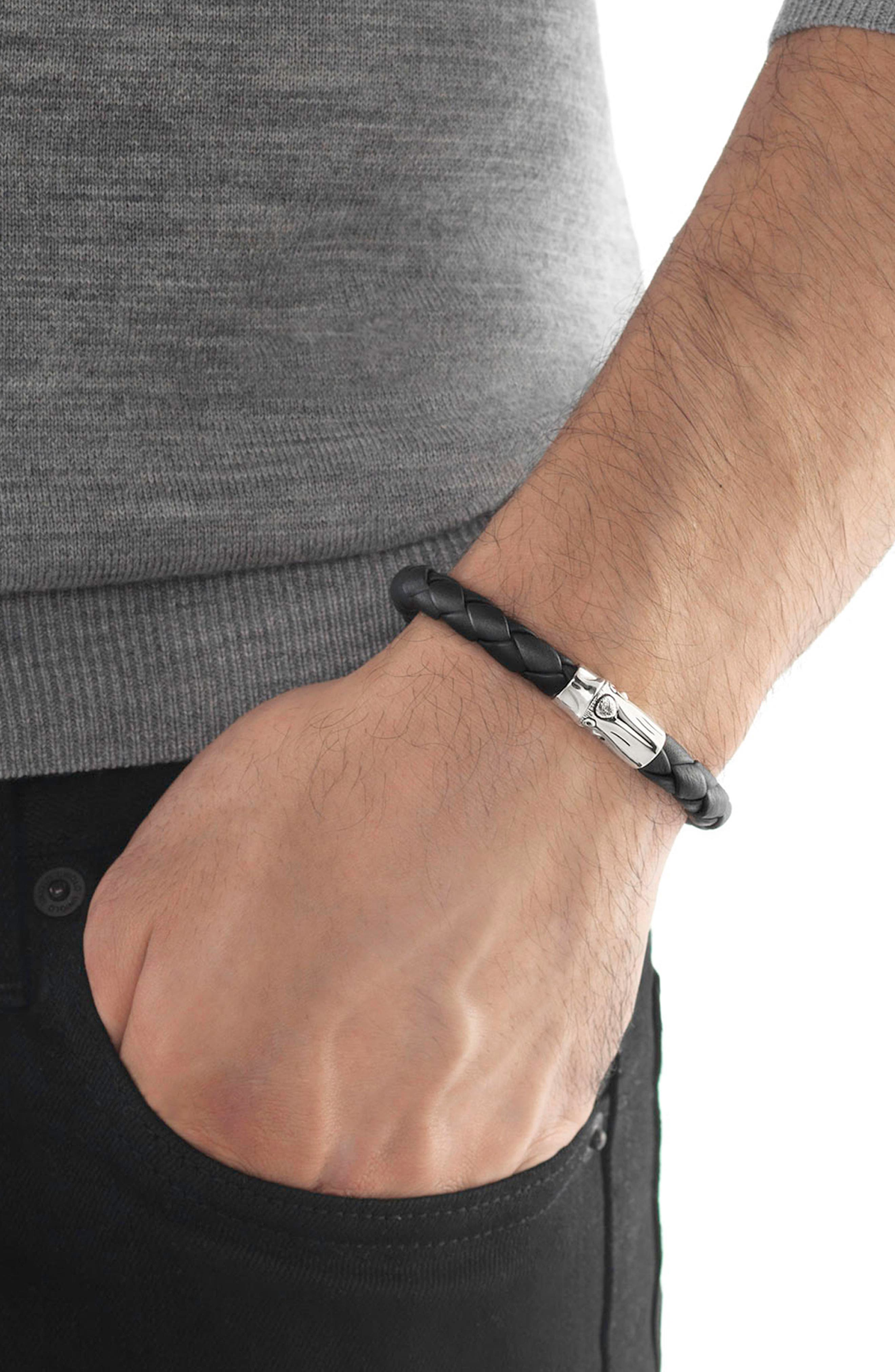 Bamboo Braided Leather Bracelet,                             Alternate thumbnail 2, color,                             SILVER/ BLACK