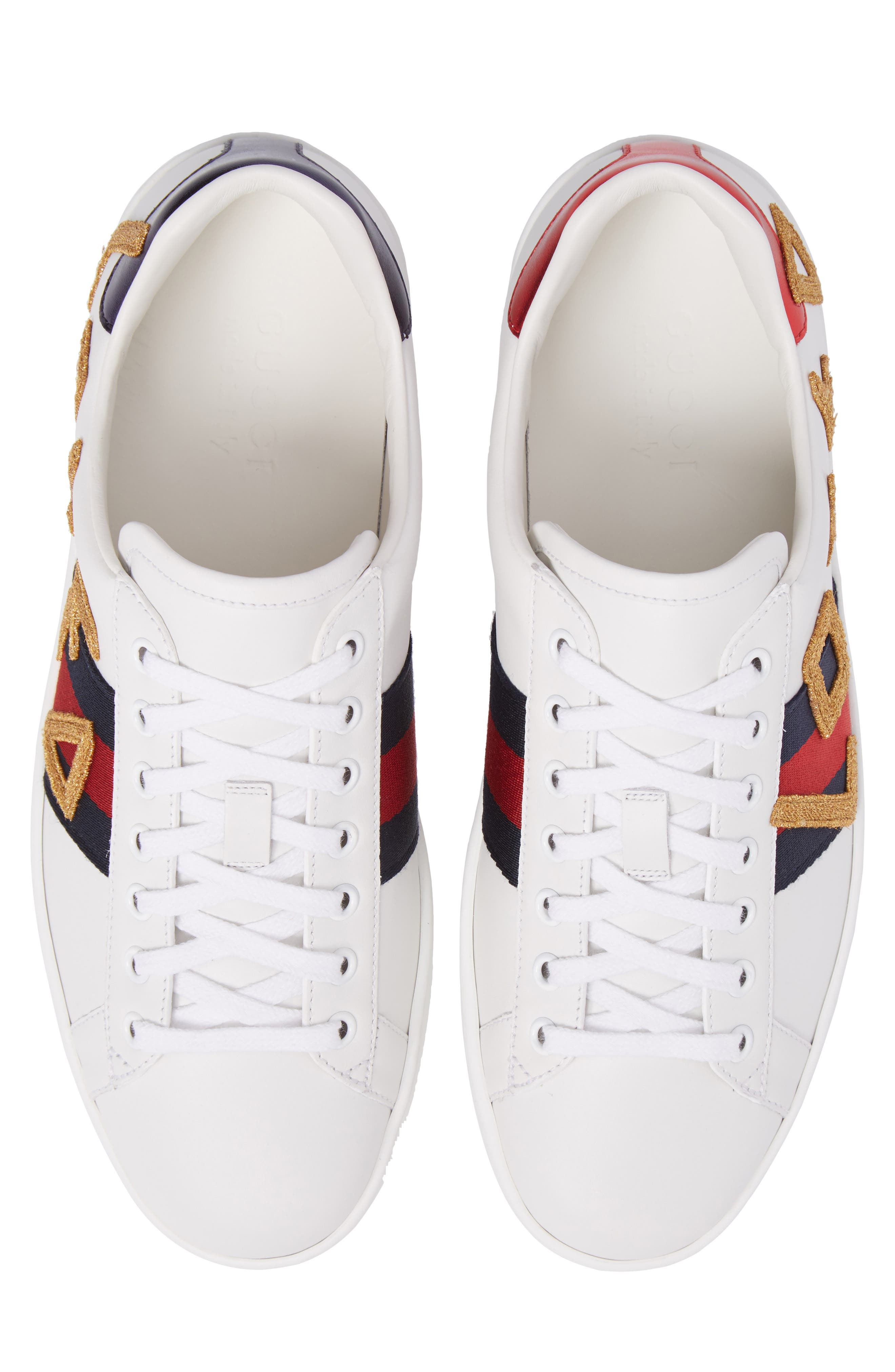 New Ace Embroidered Sneaker,                             Alternate thumbnail 5, color,                             WHITE