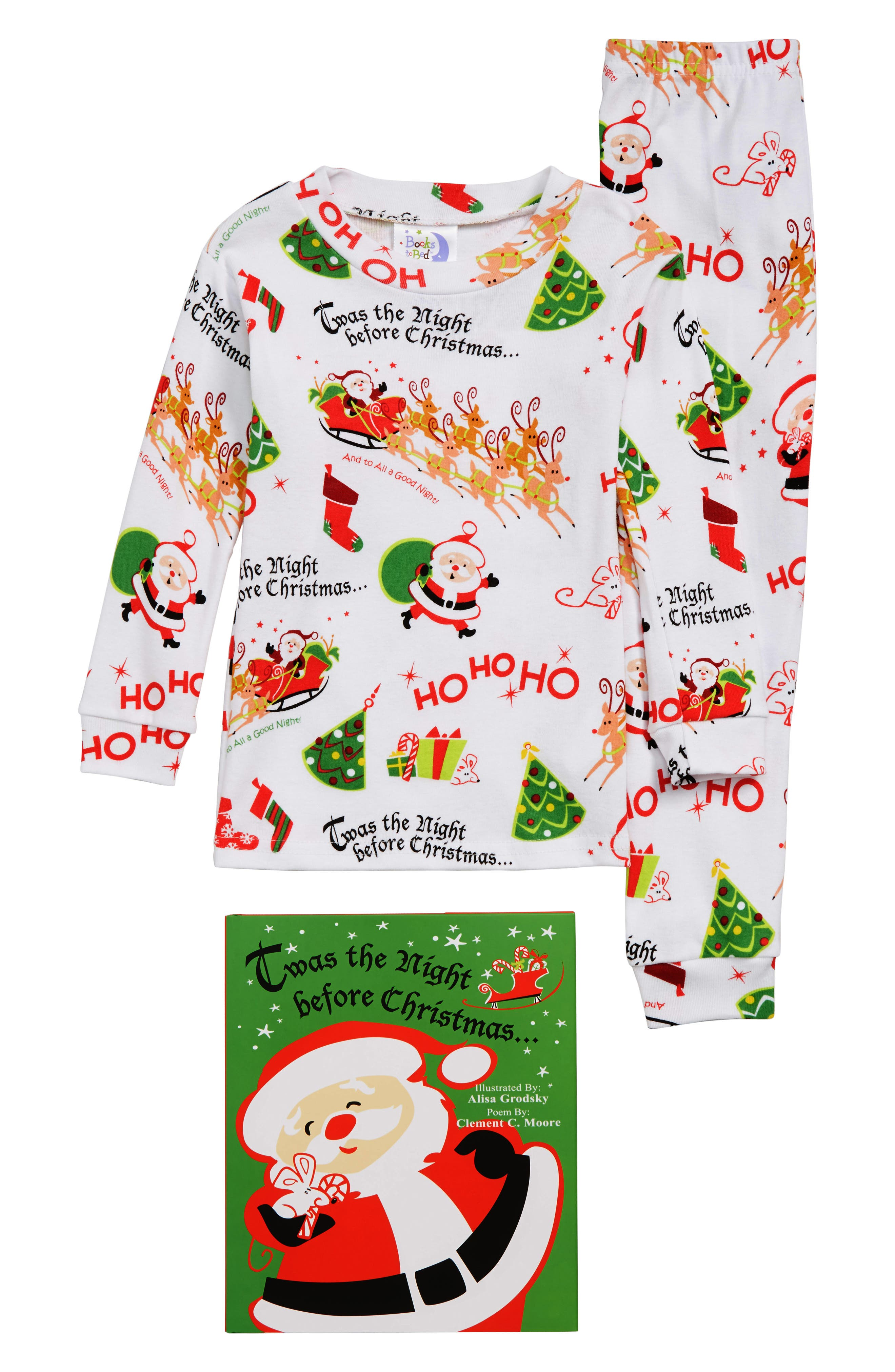 Twas the Night Before Christmas Fitted Two-Piece Pajamas & Book Set,                             Main thumbnail 1, color,                             WHITE