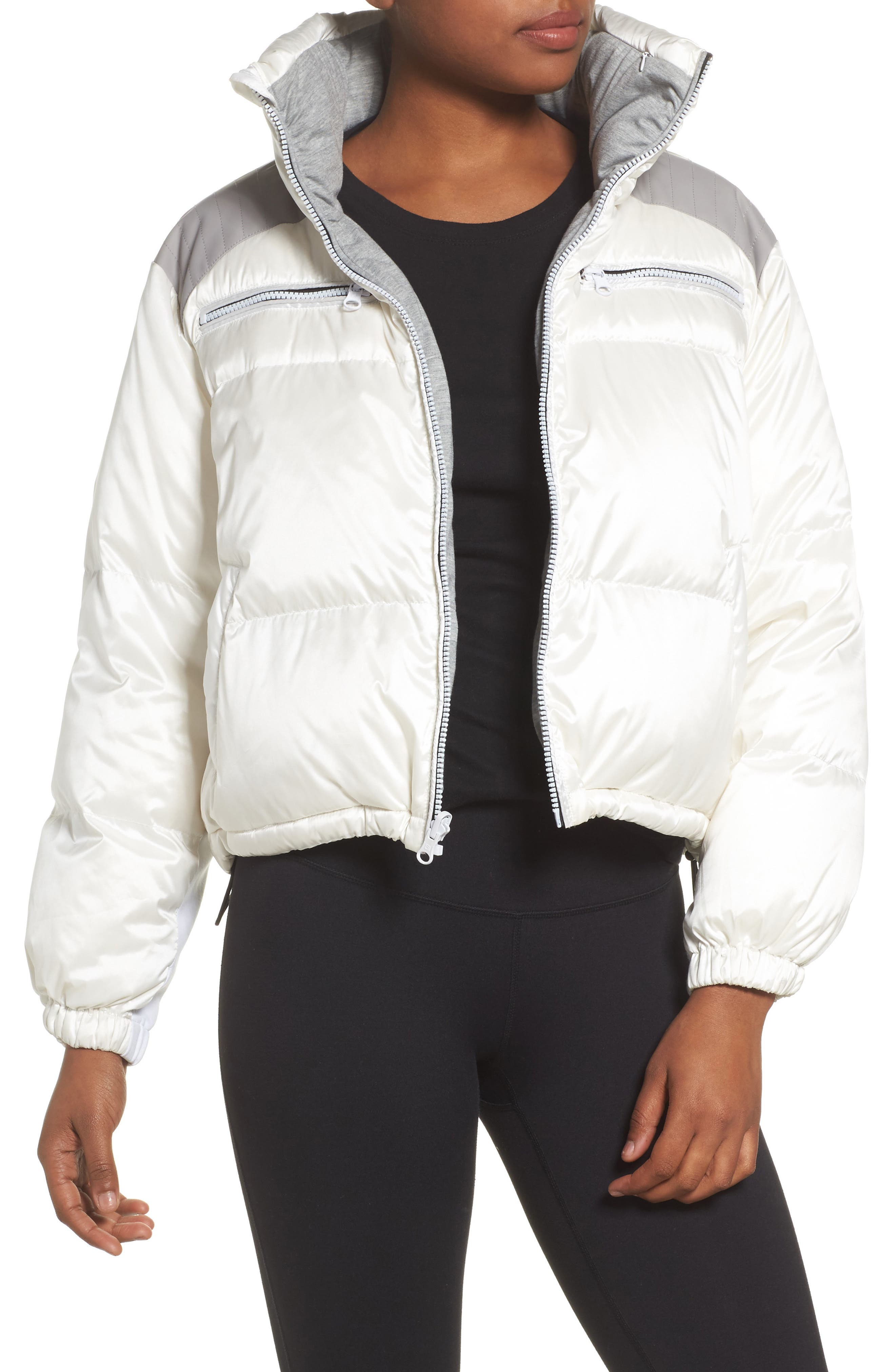 Reversible Puffer Jacket,                         Main,                         color, WHITE/HEATHER GREY