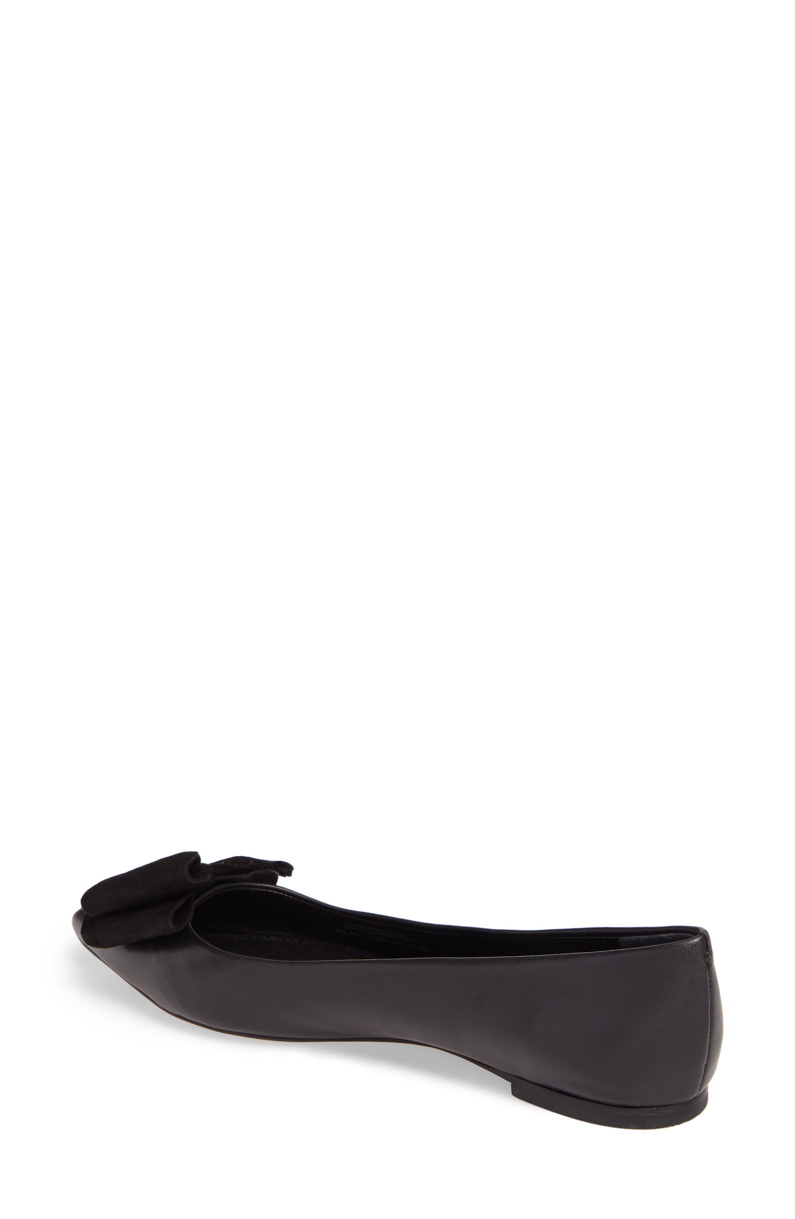Rosalind Bow Pointy Toe Flat,                             Alternate thumbnail 2, color,                             BLACK LEATHER