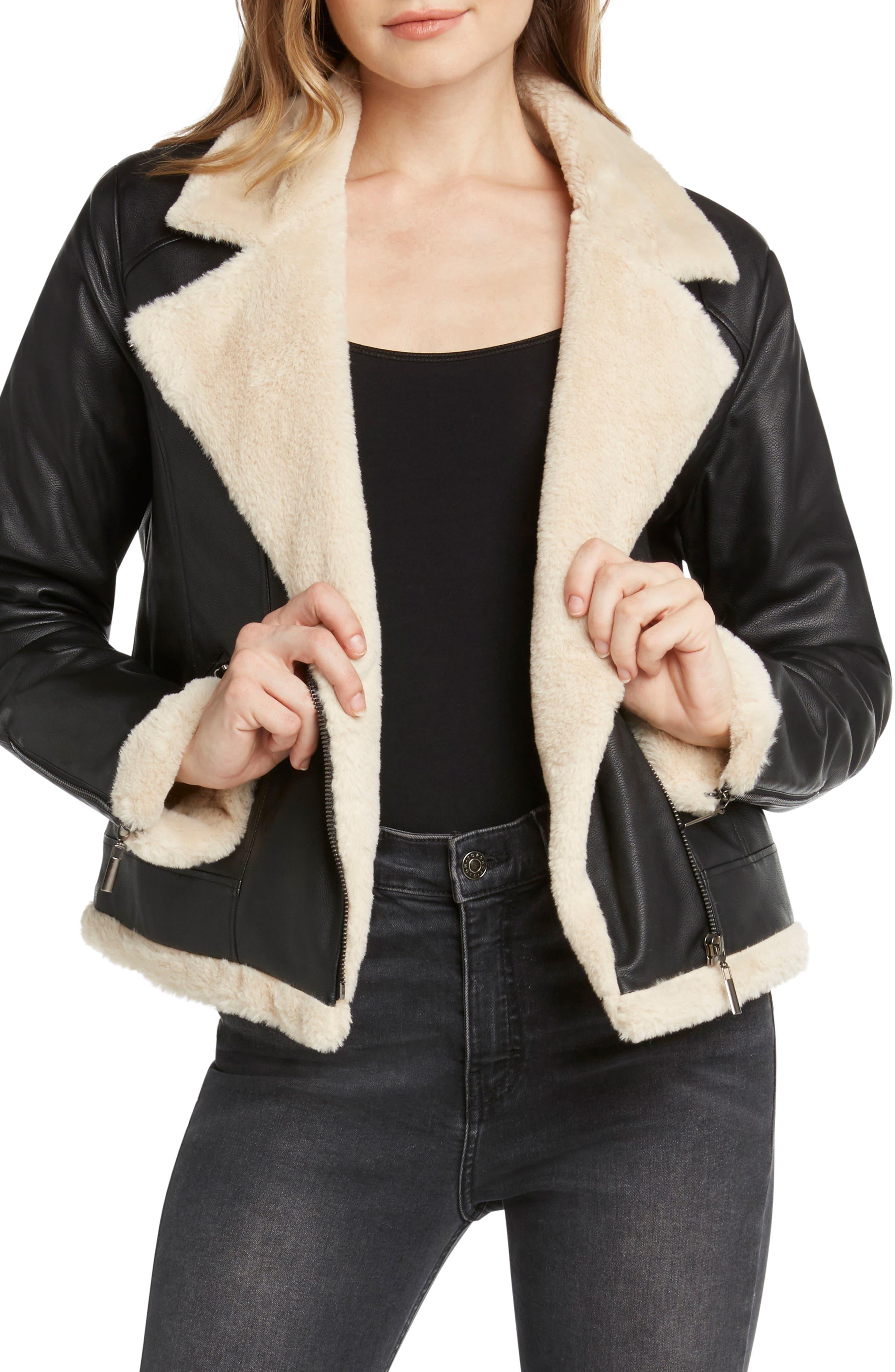 Faux Fur Lined Moto Jacket,                         Main,                         color, BLACK