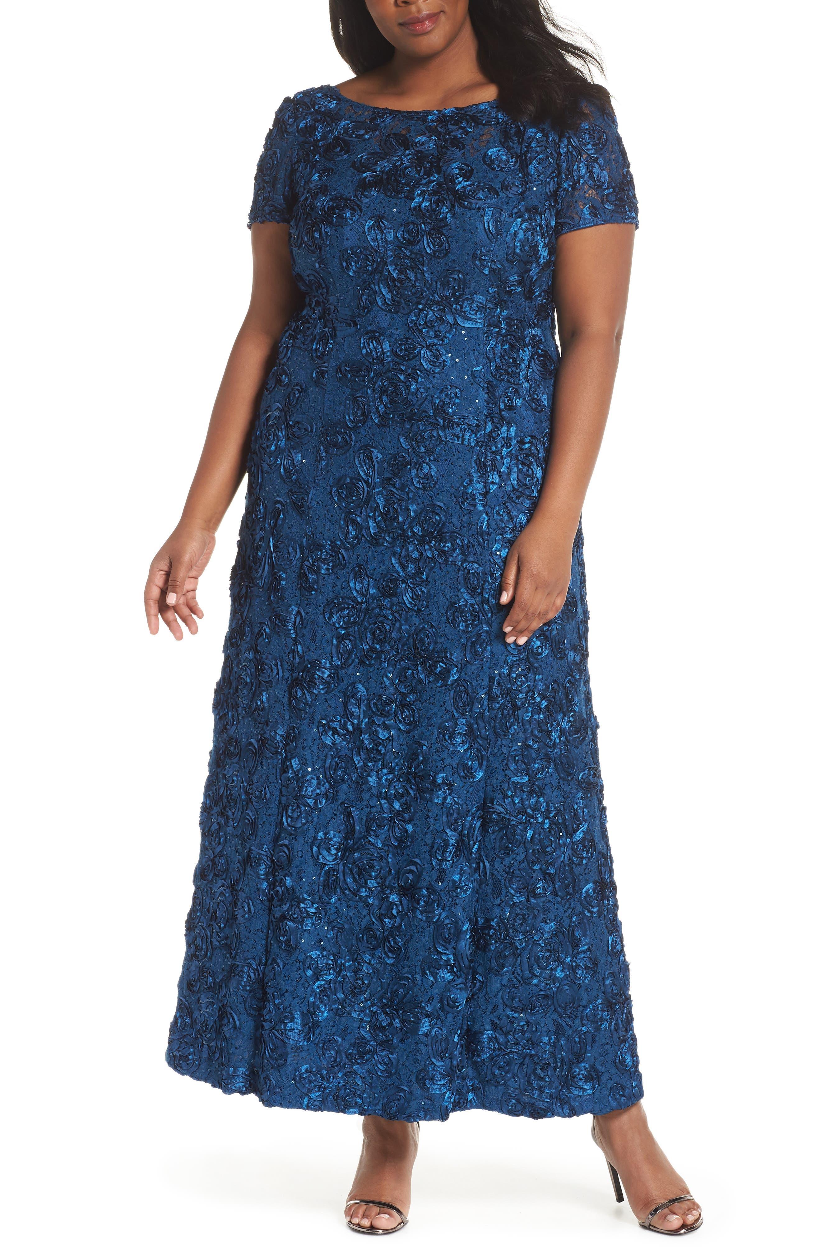 Plus Size Alex Evenings Rosette Lace Short Sleeve A-Line Gown, Blue/green