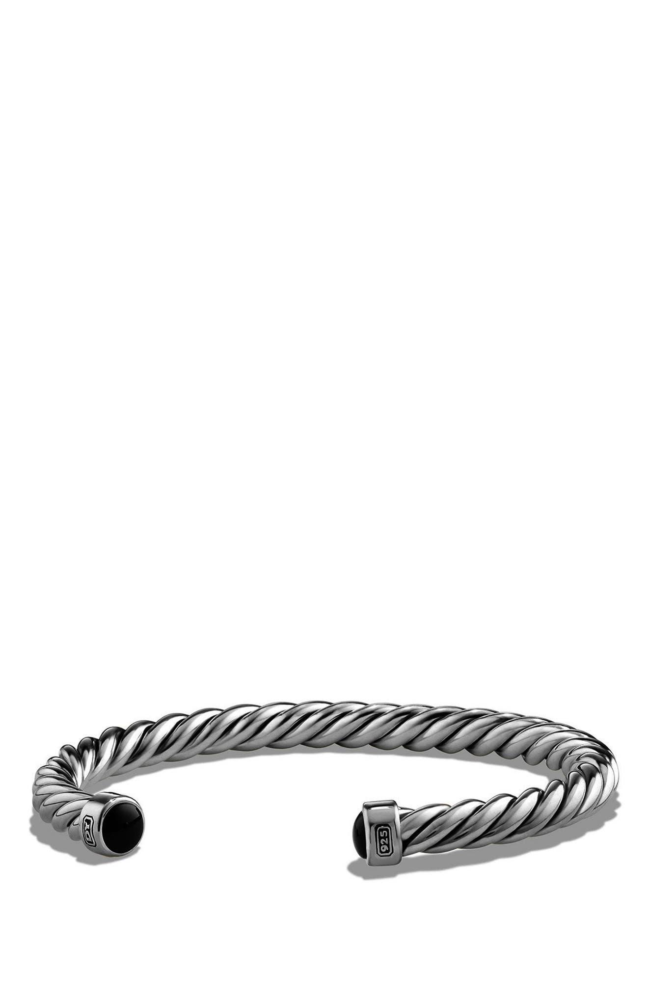 'Cable Classics' Cuff Bracelet,                             Main thumbnail 1, color,                             SILVER/ BLACK ONYX