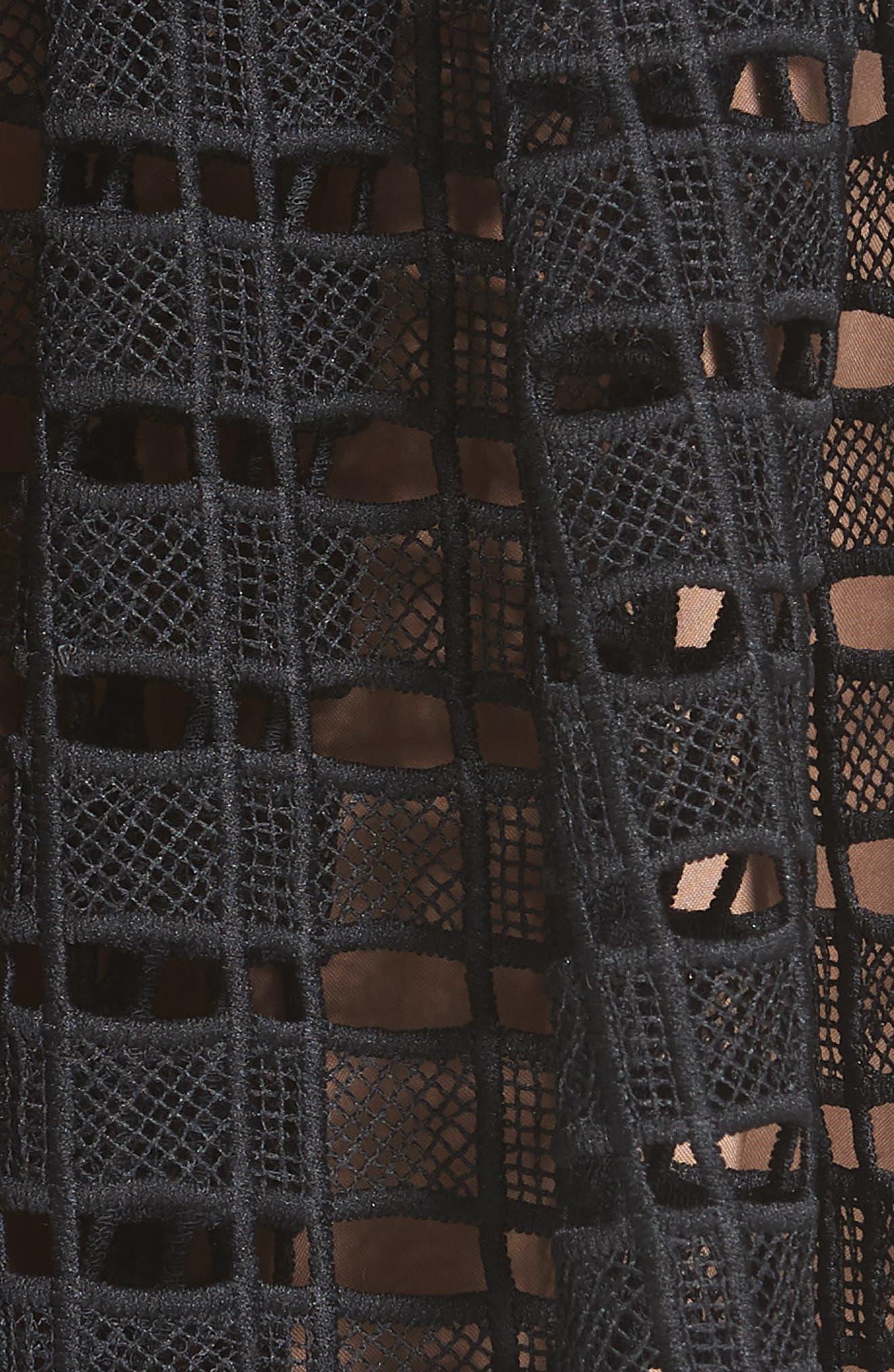 Lace Mesh Midi Skirt,                             Alternate thumbnail 5, color,                             001