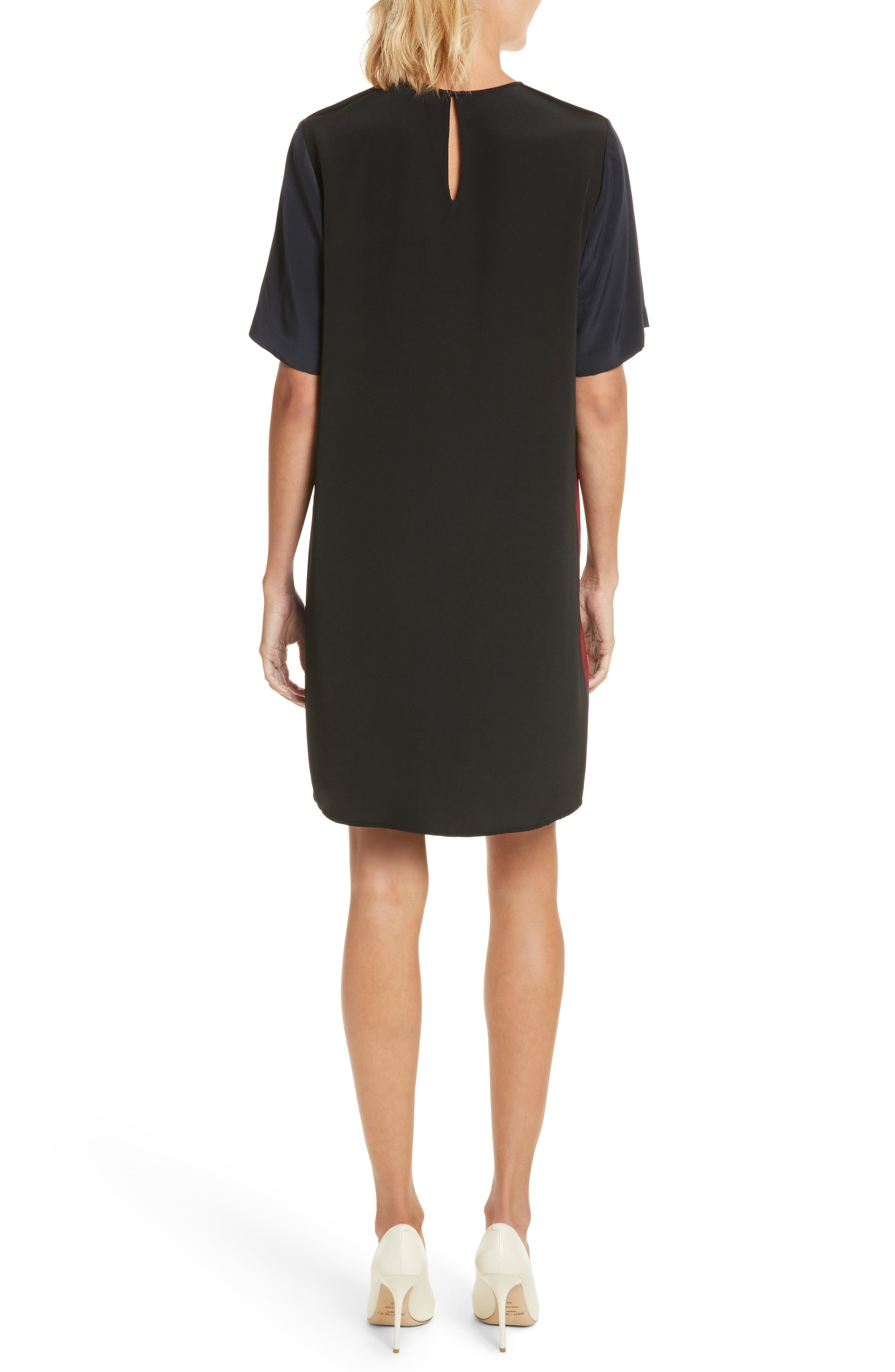Diane von Furstenberg Stripe Silk Shift Dress,                             Alternate thumbnail 2, color,                             005