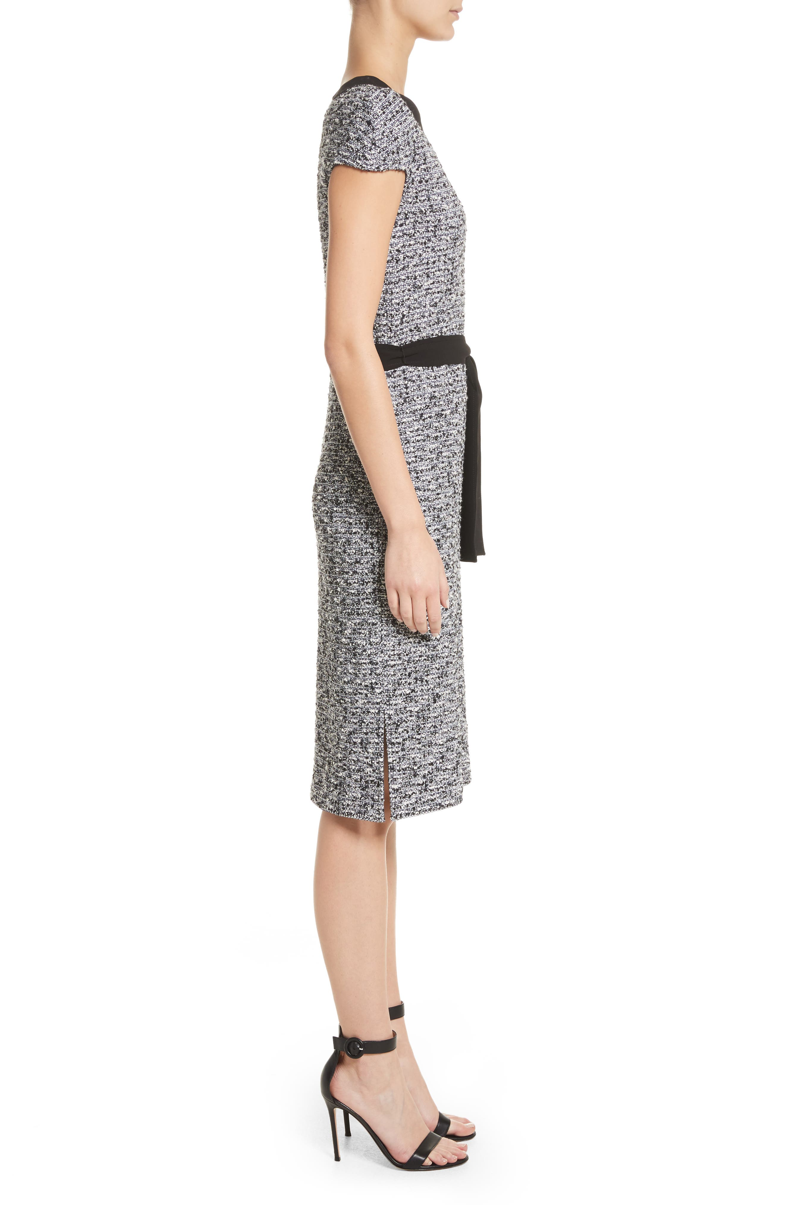 Micro Tweed Belted Dress,                             Alternate thumbnail 3, color,                             001
