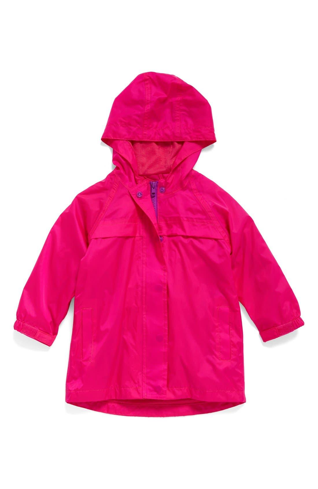 Hooded Raincoat,                             Main thumbnail 1, color,                             PINK