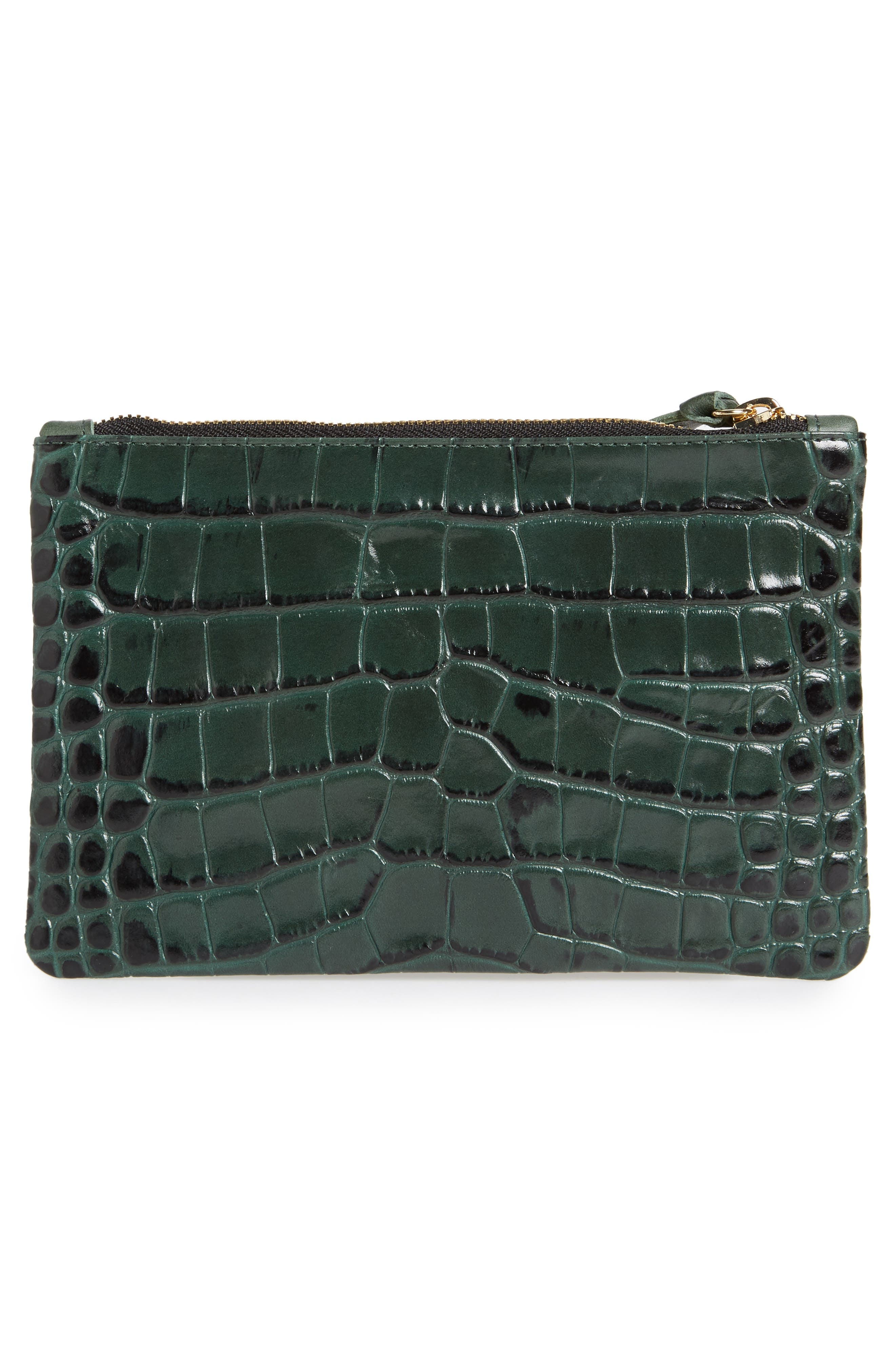 Croc Embossed Leather Clutch,                             Alternate thumbnail 3, color,                             300