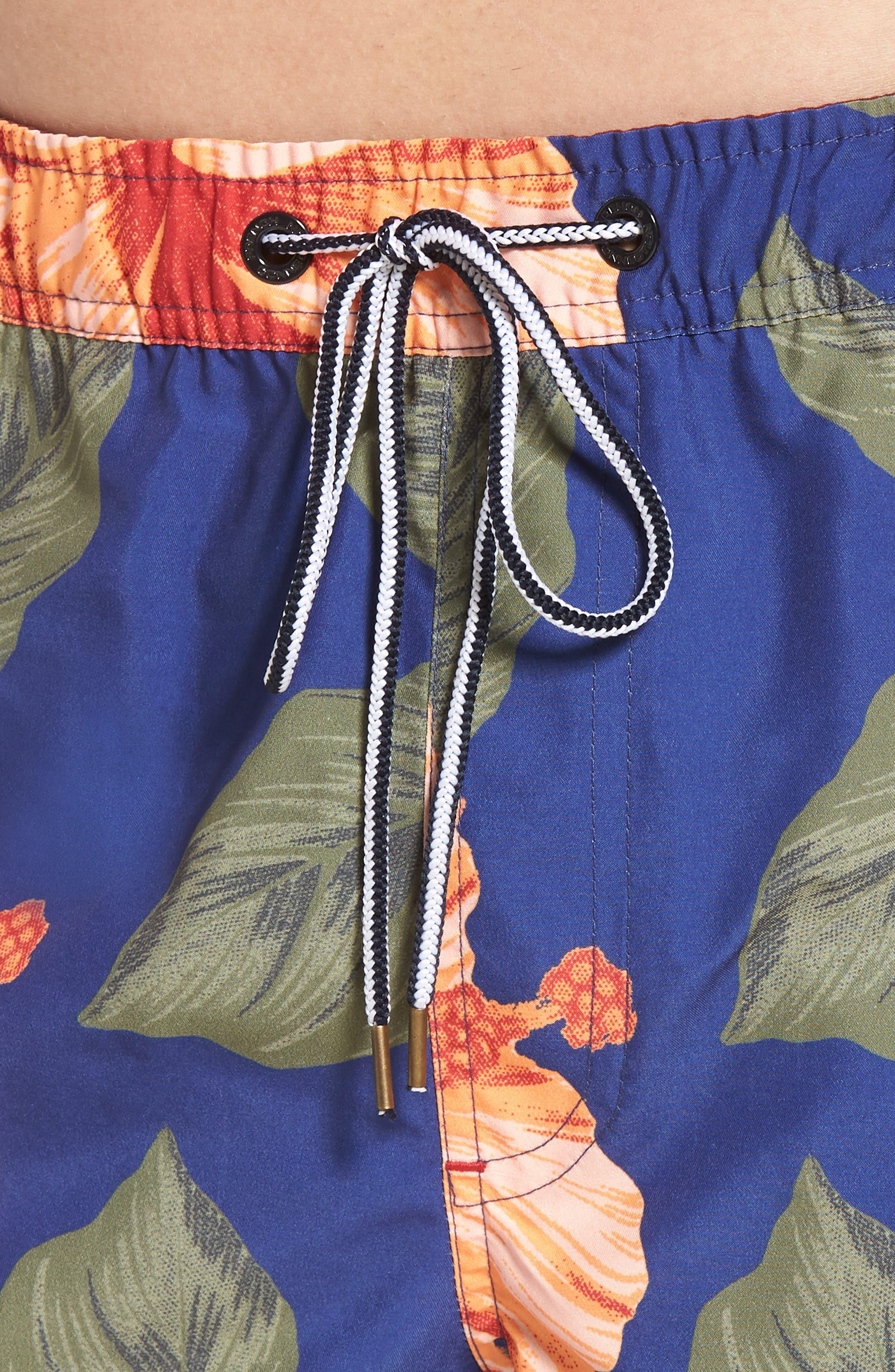 Wela Hawaiian Slim Fit Swim Trunks,                             Alternate thumbnail 4, color,                             401