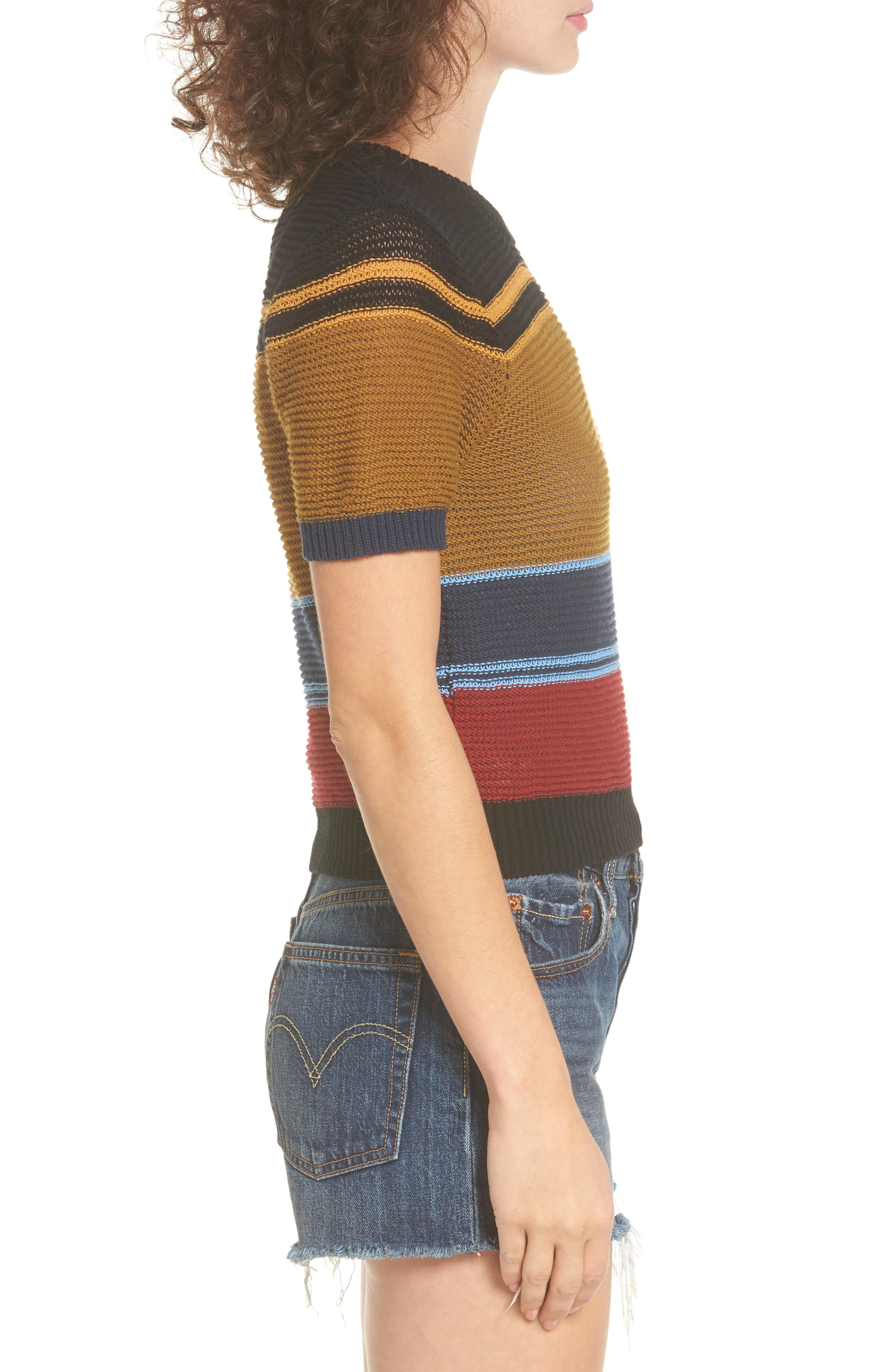 Brightside Stripe Knit Sweater,                             Alternate thumbnail 3, color,                             001