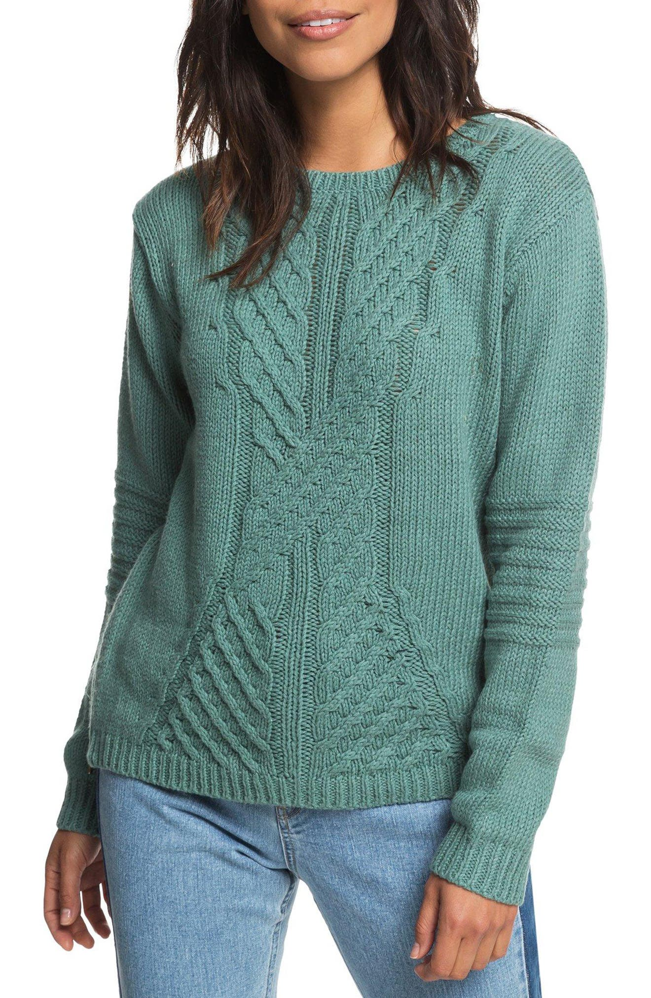Glimpse of Romance Cable Knit Sweater,                             Main thumbnail 1, color,                             300
