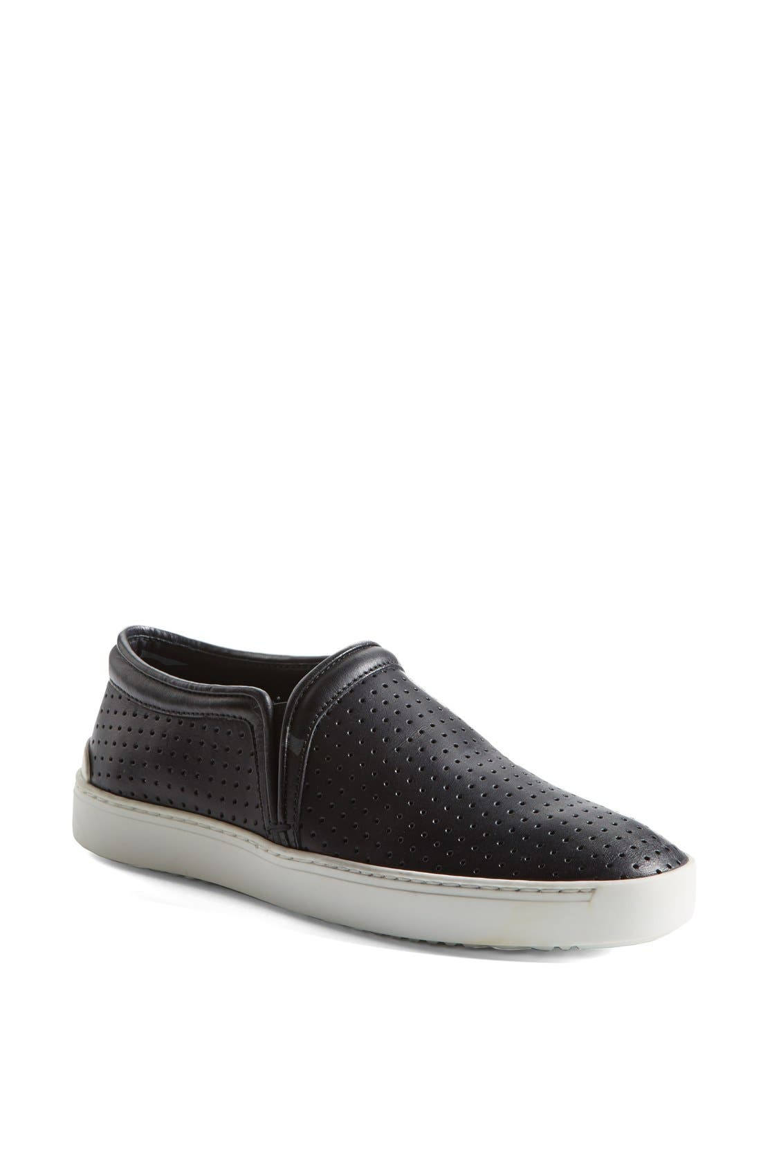 'Kent' Perforated Leather Slip-On,                             Main thumbnail 1, color,                             001