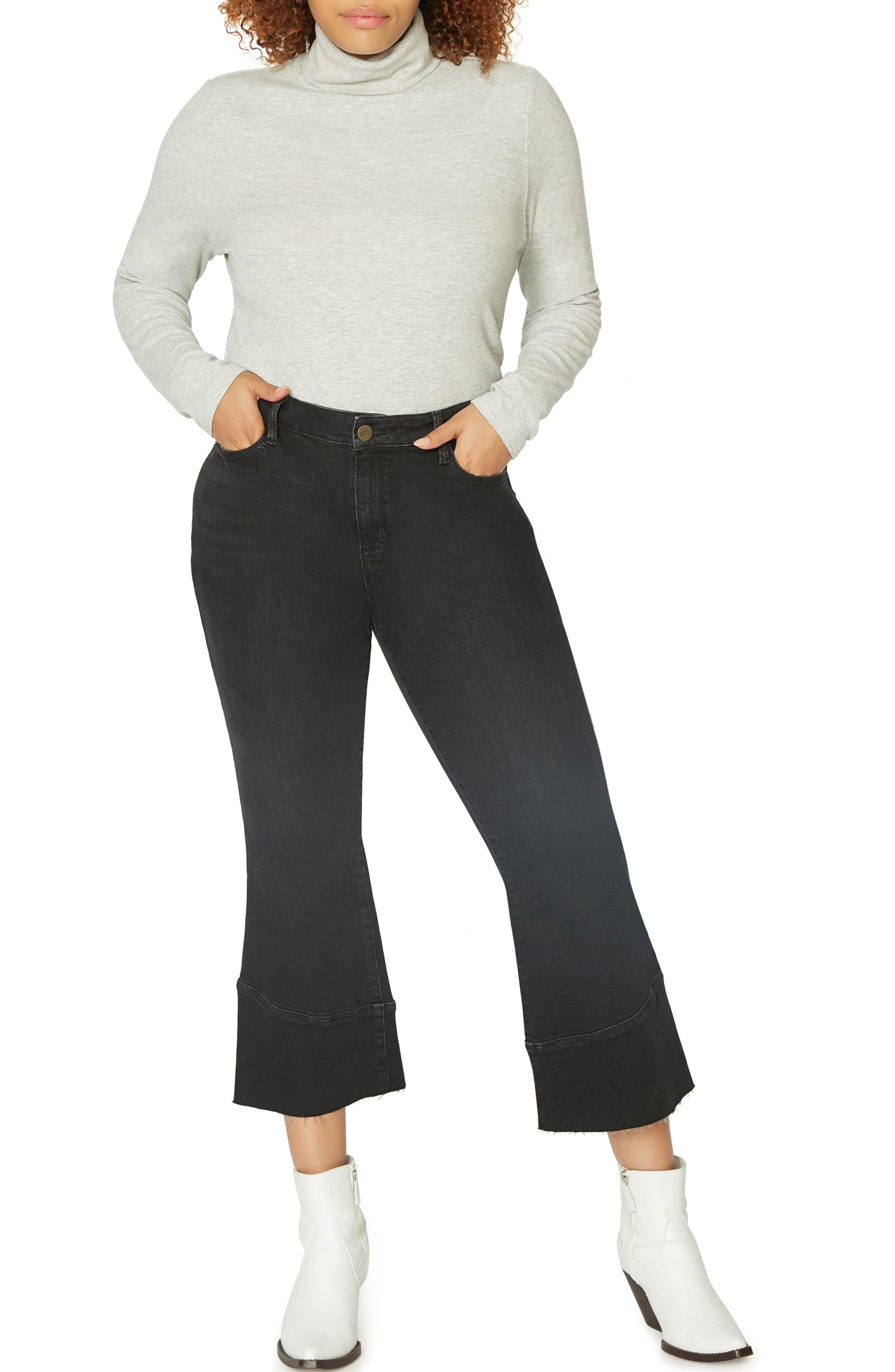 Tulip Hem Kick Crop Jeans,                             Alternate thumbnail 4, color,                             NOIR BLACK