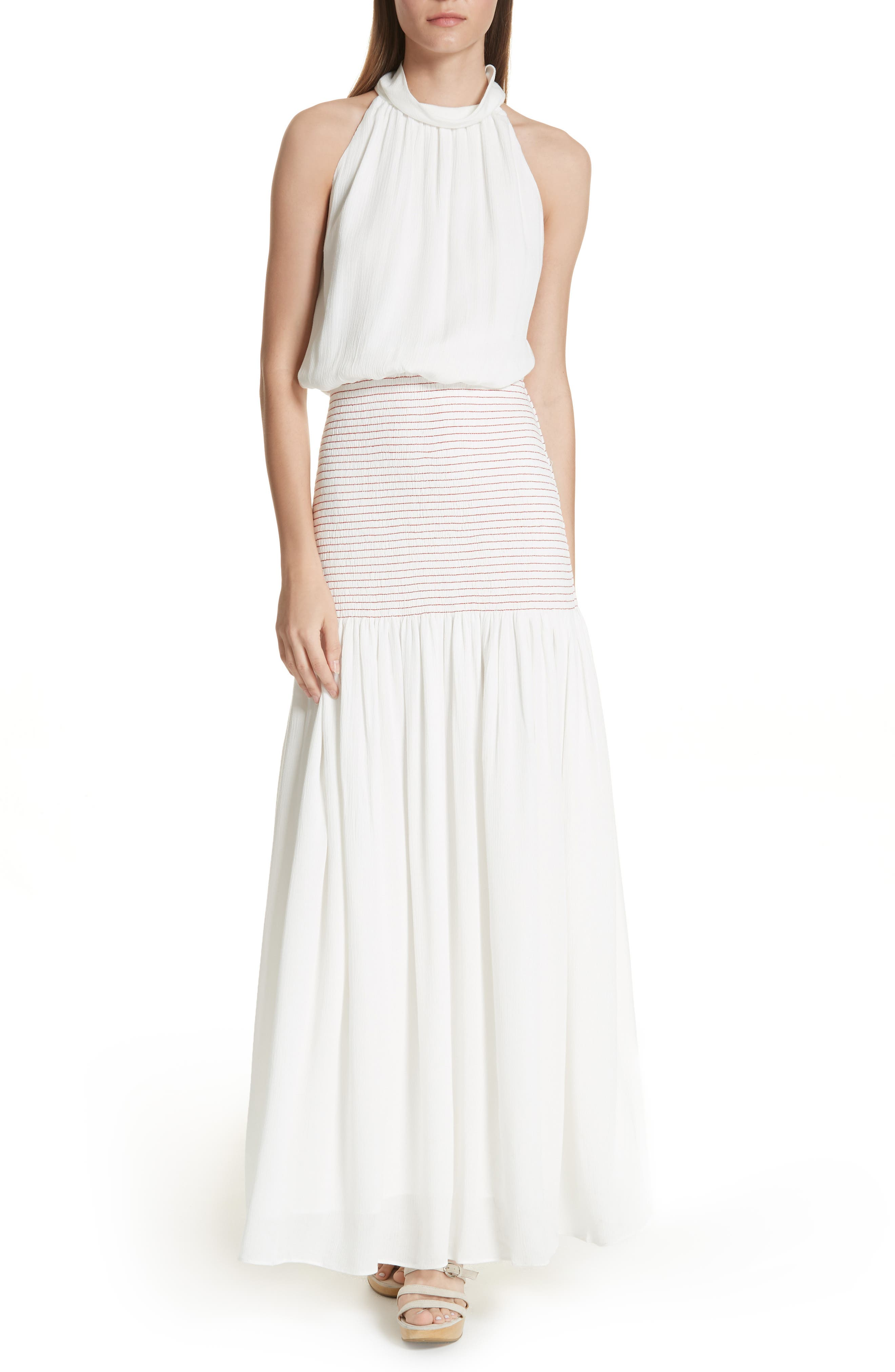 Festa Smocked Panel Maxi Dress,                         Main,                         color, WHITE