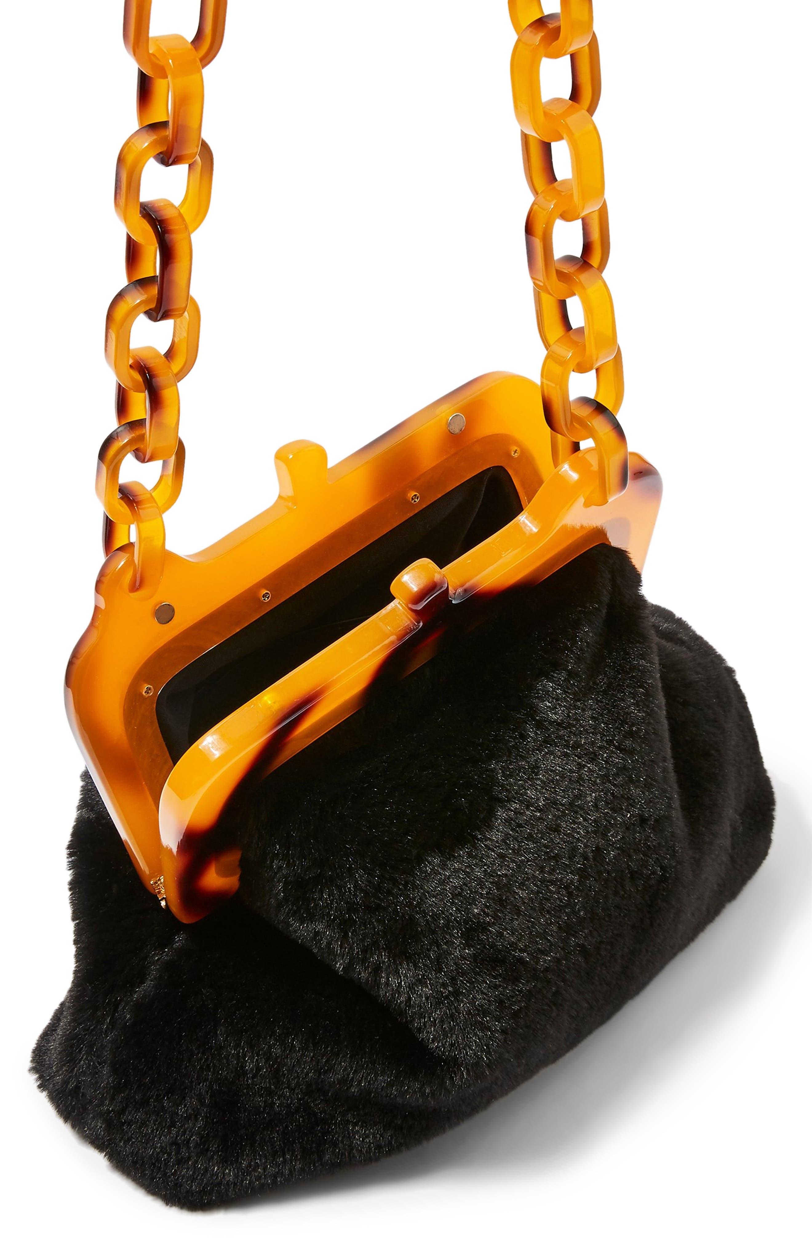 Faux Fur Frame Bag,                             Alternate thumbnail 5, color,                             BLACK