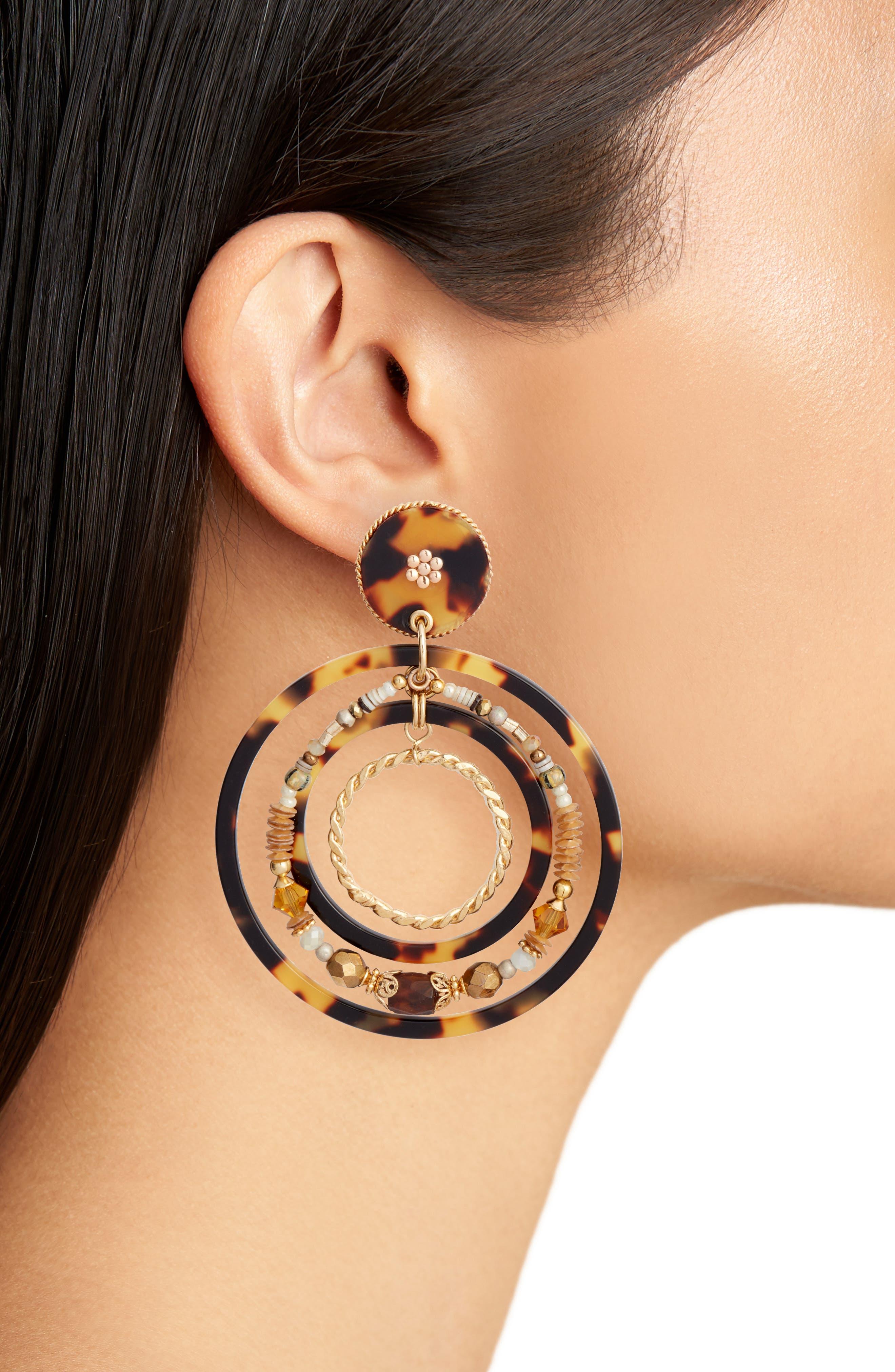 Alexia Hoop Earrings,                             Alternate thumbnail 2, color,                             ACETATE BROWN