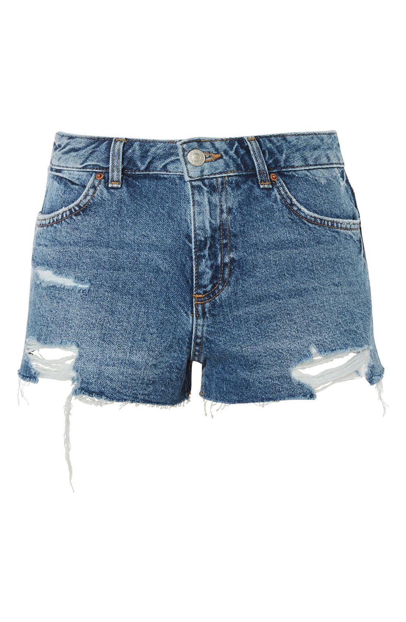 Cory Ripped Denim Shorts,                             Alternate thumbnail 3, color,                             400