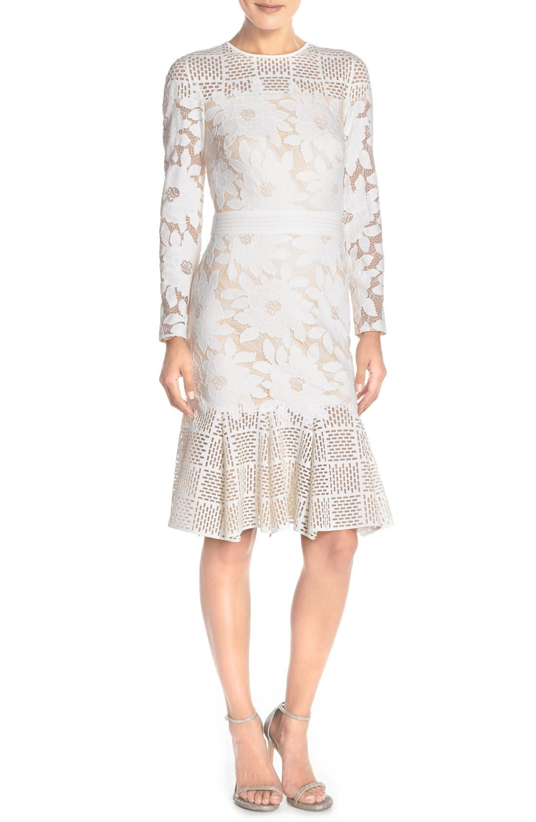 Lace & Cutout Neoprene Sheath Dress,                             Alternate thumbnail 5, color,                             904